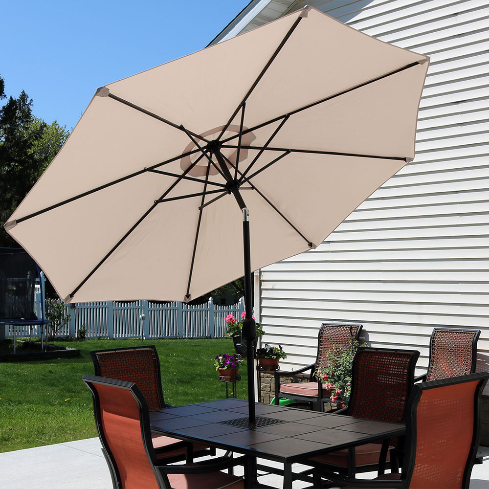 Sunnydaze Beige Aluminum Foot Patio Umbrella Picture 855