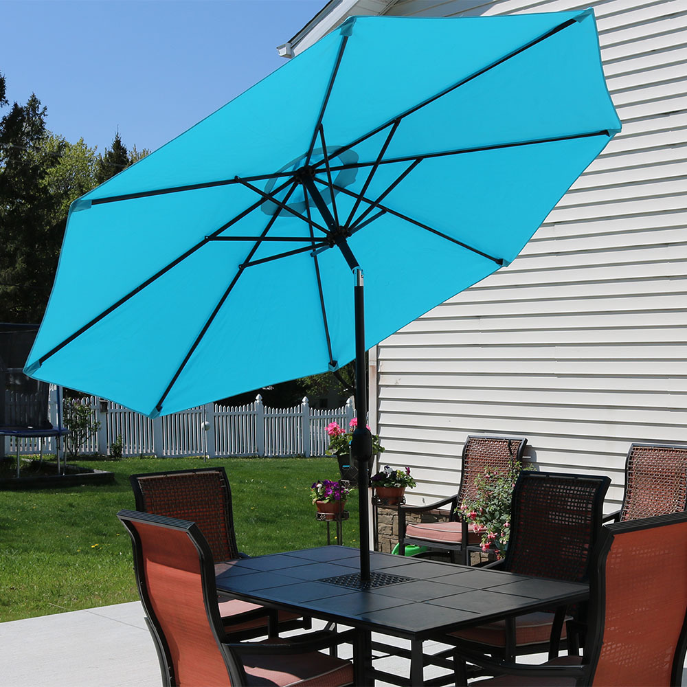 Sunnydaze Turquoise Aluminum Foot Patio Umbrella Photo
