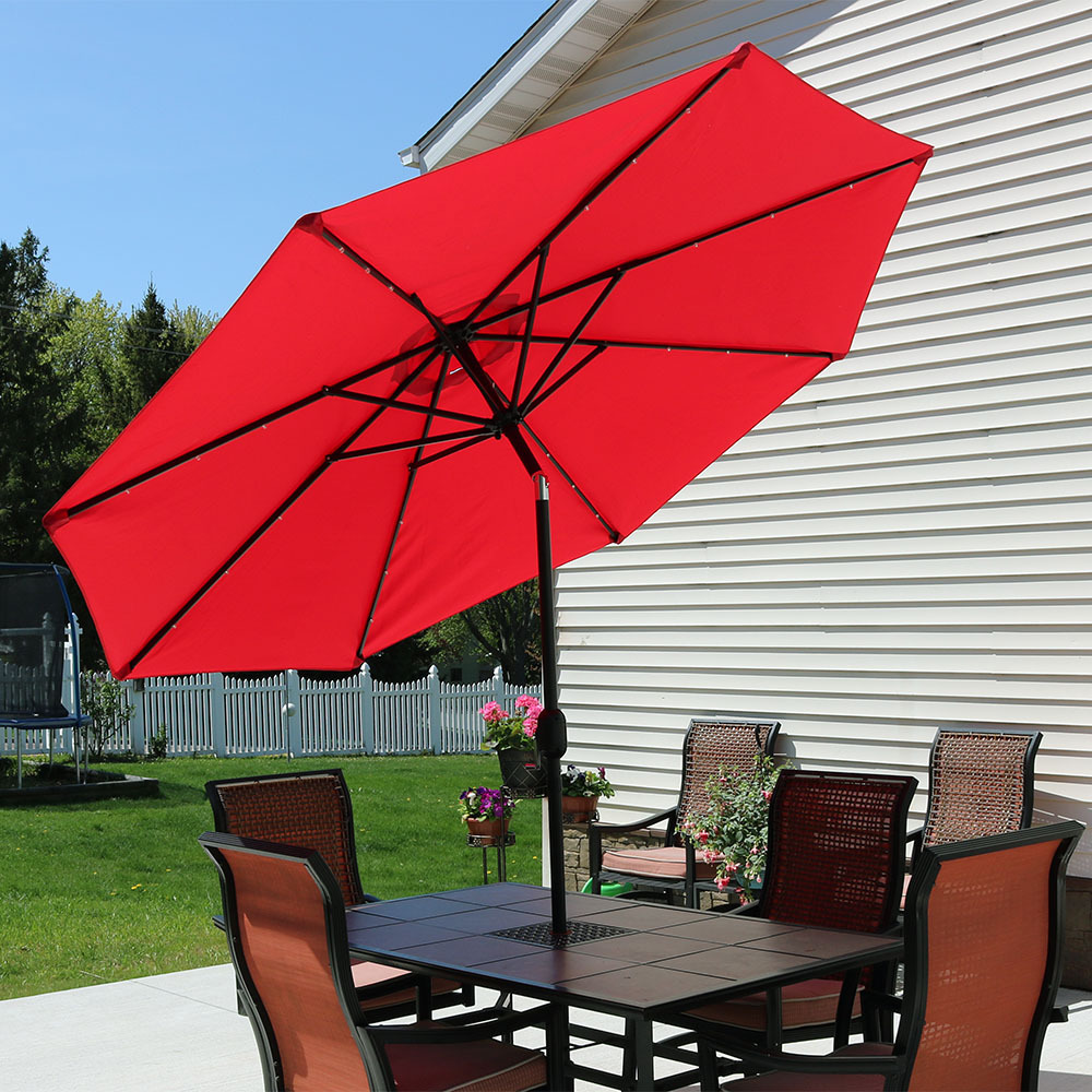 Sunnydaze Aluminum Foot Solar Patio Umbrella Picture 719