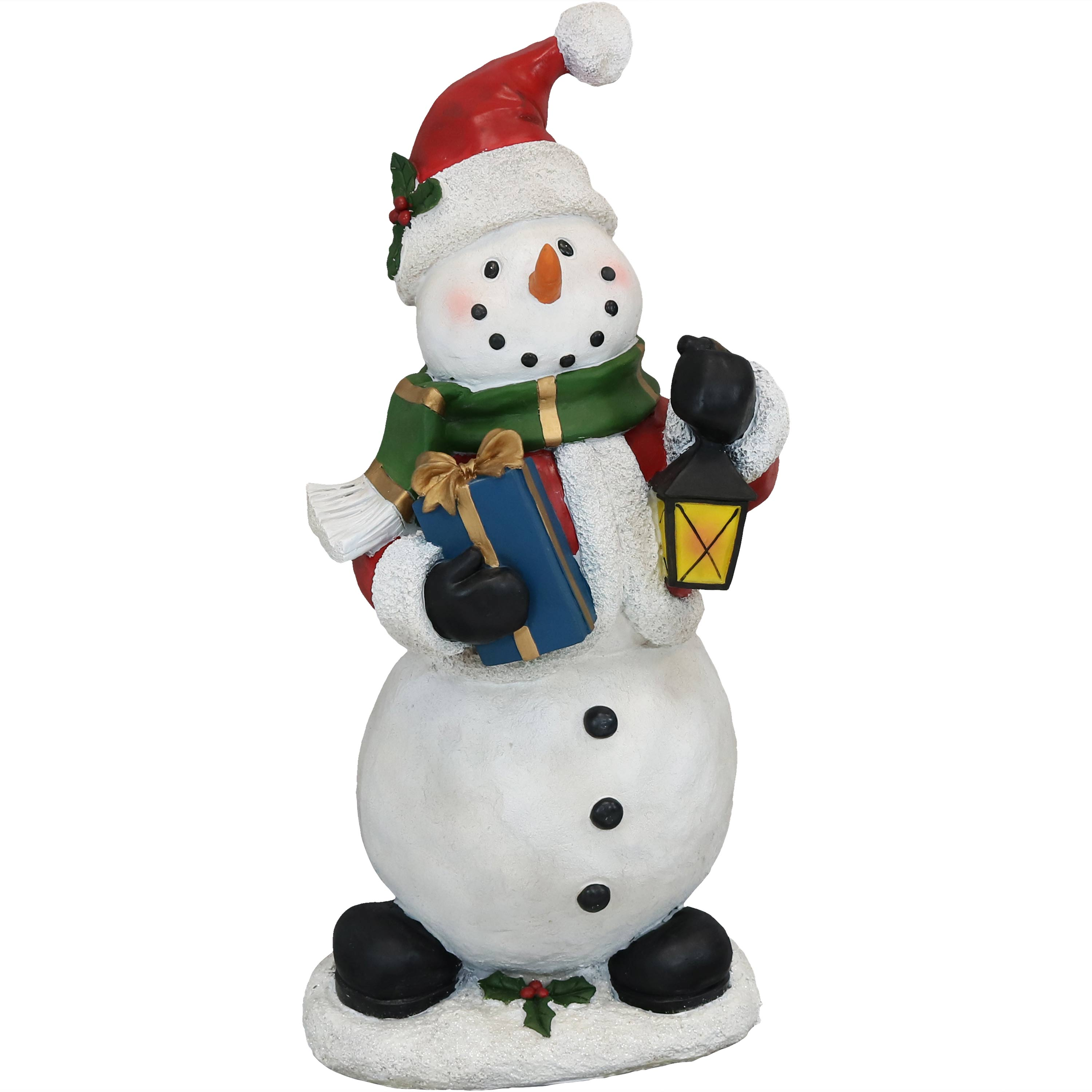 Holly Jolly Snowman Statue Polyresin Photo