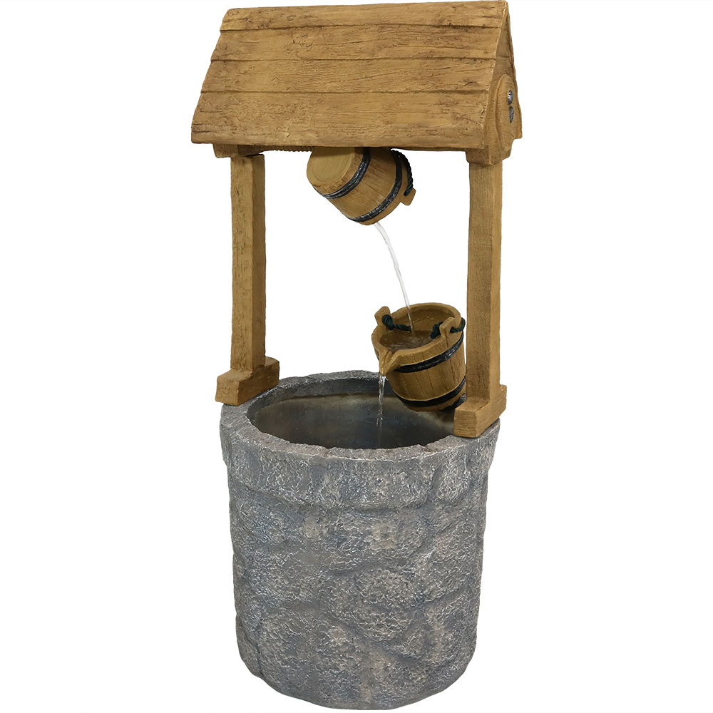 Sunnydaze Outdoor American Wishing Well Water Fountain, 49 Inch Tall