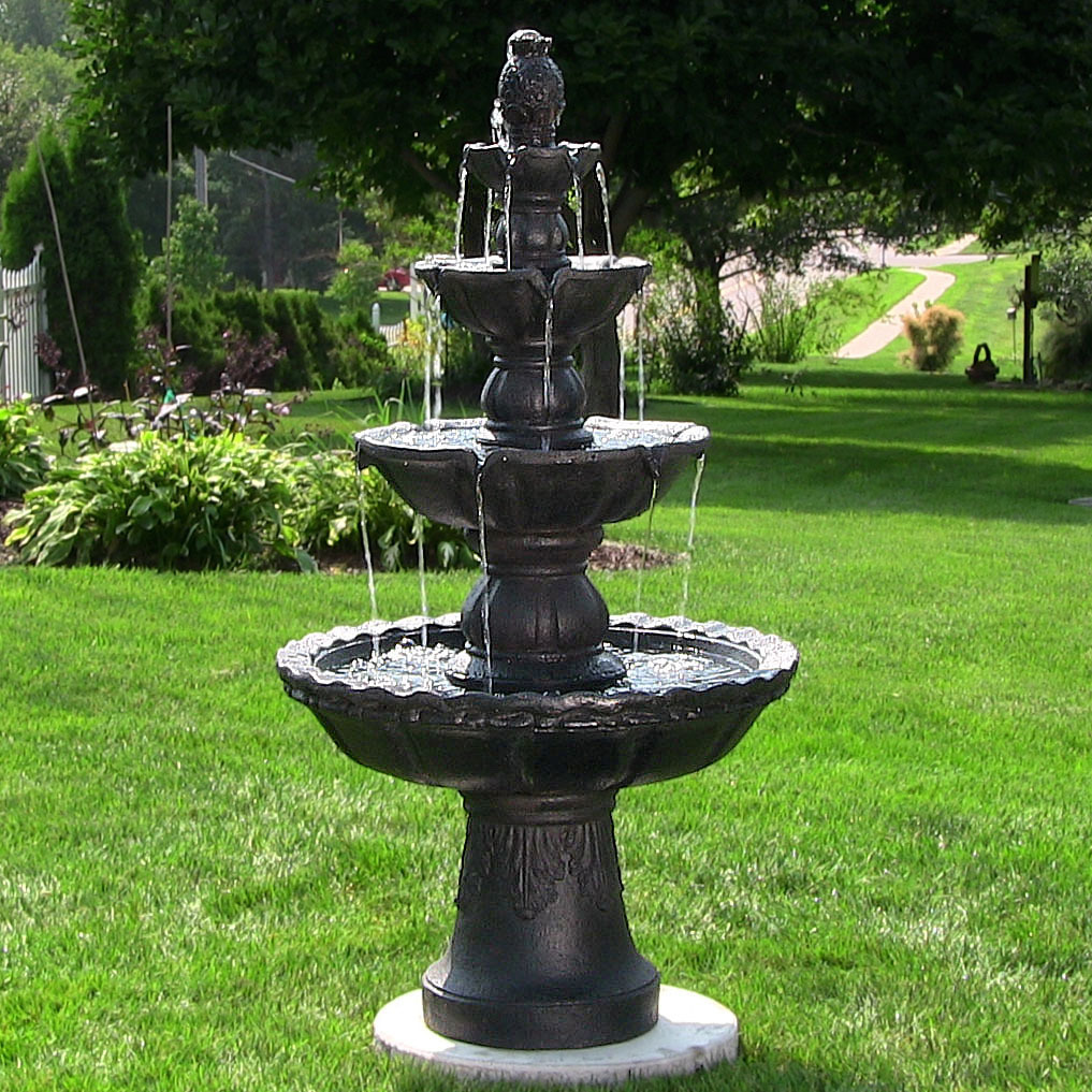 Sunnydaze Tiered Electric Pineapple Water Fountain Tall Image 736