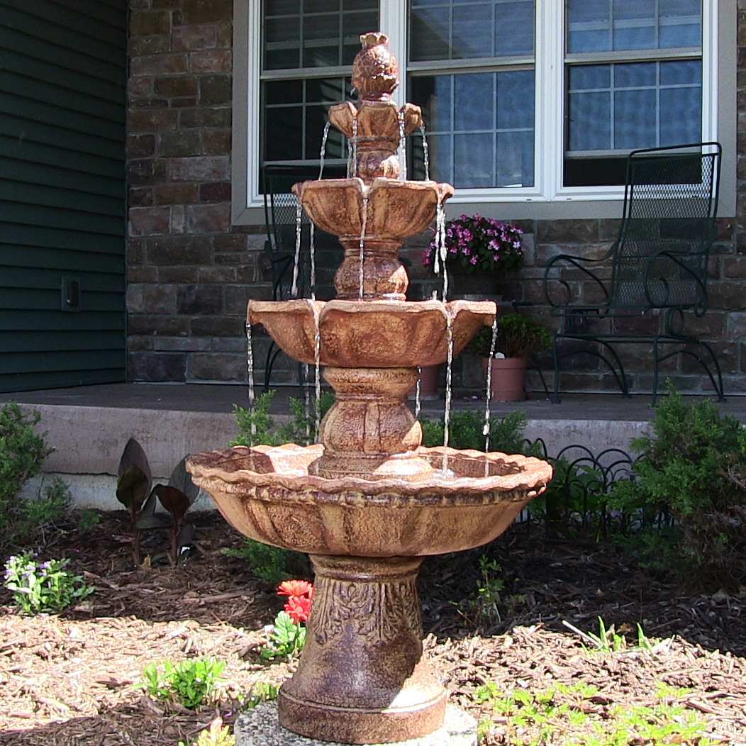 Sunnydaze Tier Pineapple Outdoor Water Fountain Earth Tall Image 291