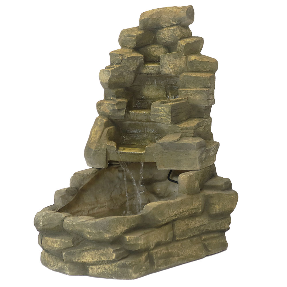 Sunnydaze Stone Outdoor Garden Waterfall Fountain, 37 Inch Tall