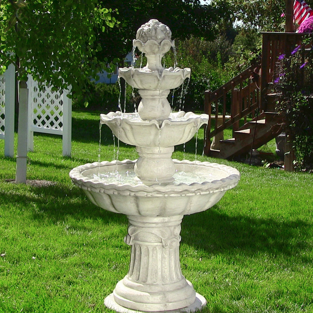 Water Fountain Fruit Top Floor Waterfall Fountain Garden Backyard Patio Porch Yard White T Photo