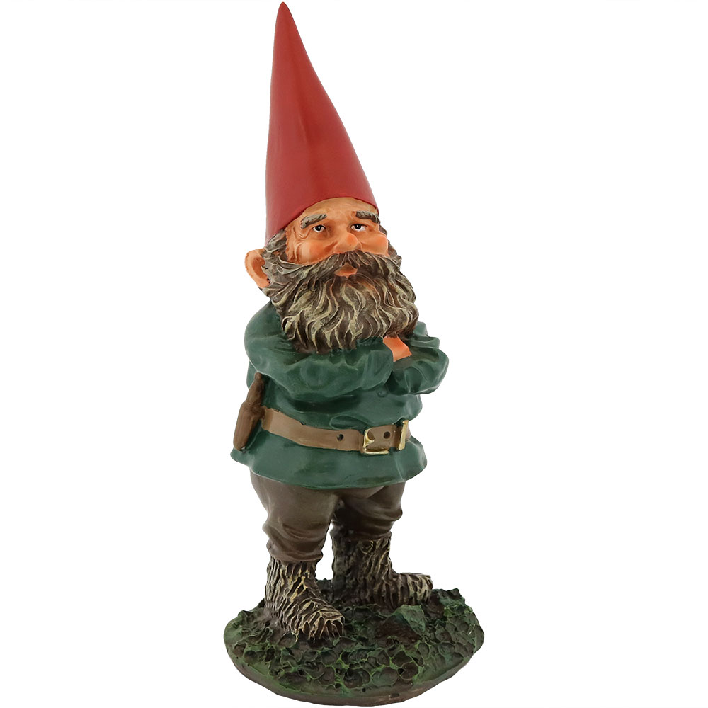 Sunnydaze Garden Gnome Timothy the Welcoming Lawn Statue, Outdoor Yard Ornament, 9 Inch Tall
