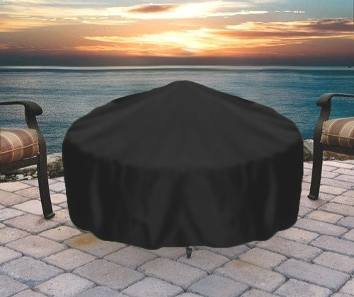 Image of Sunnydaze Heavy-Duty Weather-Resistant Round Fire Pit Cover with Drawstring and Toggle Closure, Black PVC, 48 Inch Diameter