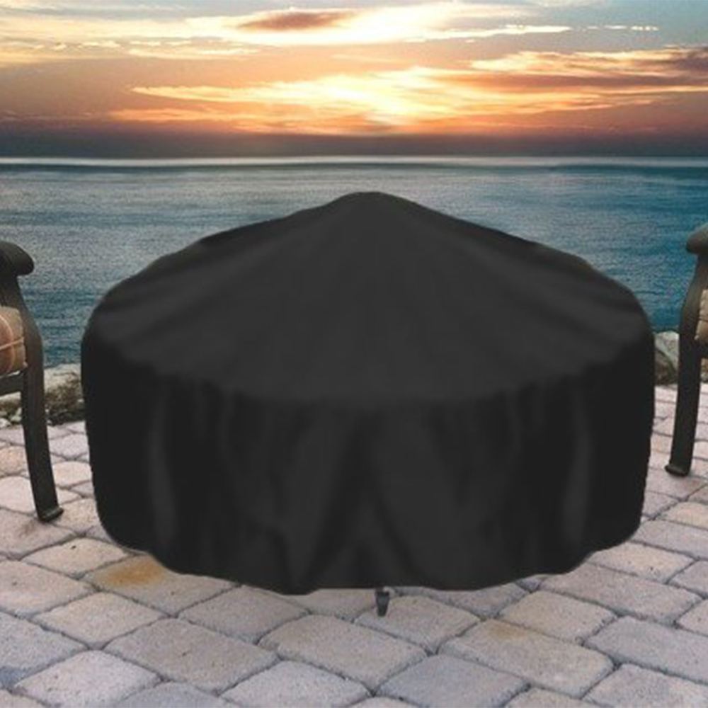 Image of Sunnydaze Heavy-Duty Weather-Resistant Round Fire Pit Cover with Drawstring and Toggle Closure, Black PVC, 58 Inch Diameter