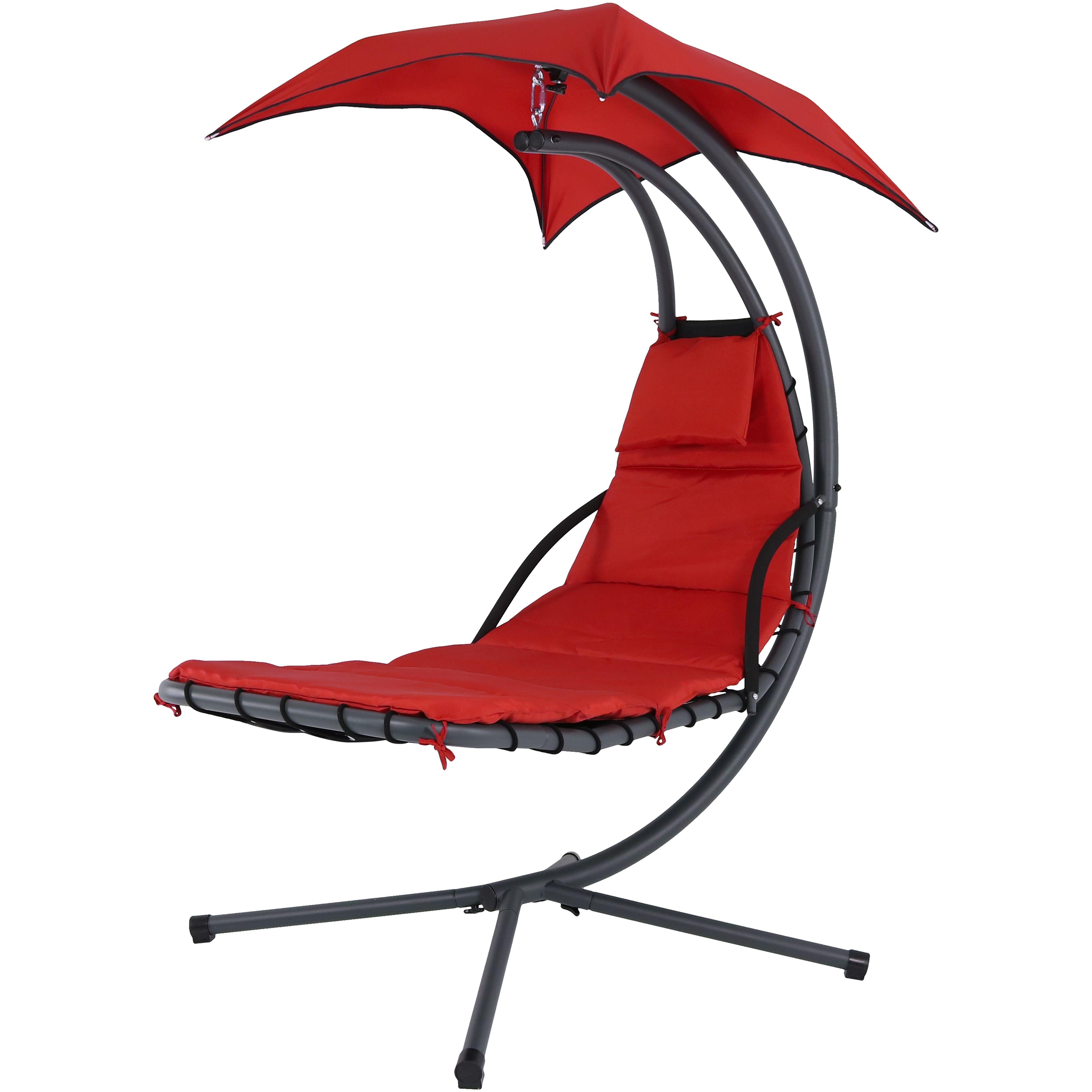 Red Floating Chaise Lounger Swing Chair Canopy Umbrella Wide Tall Photo