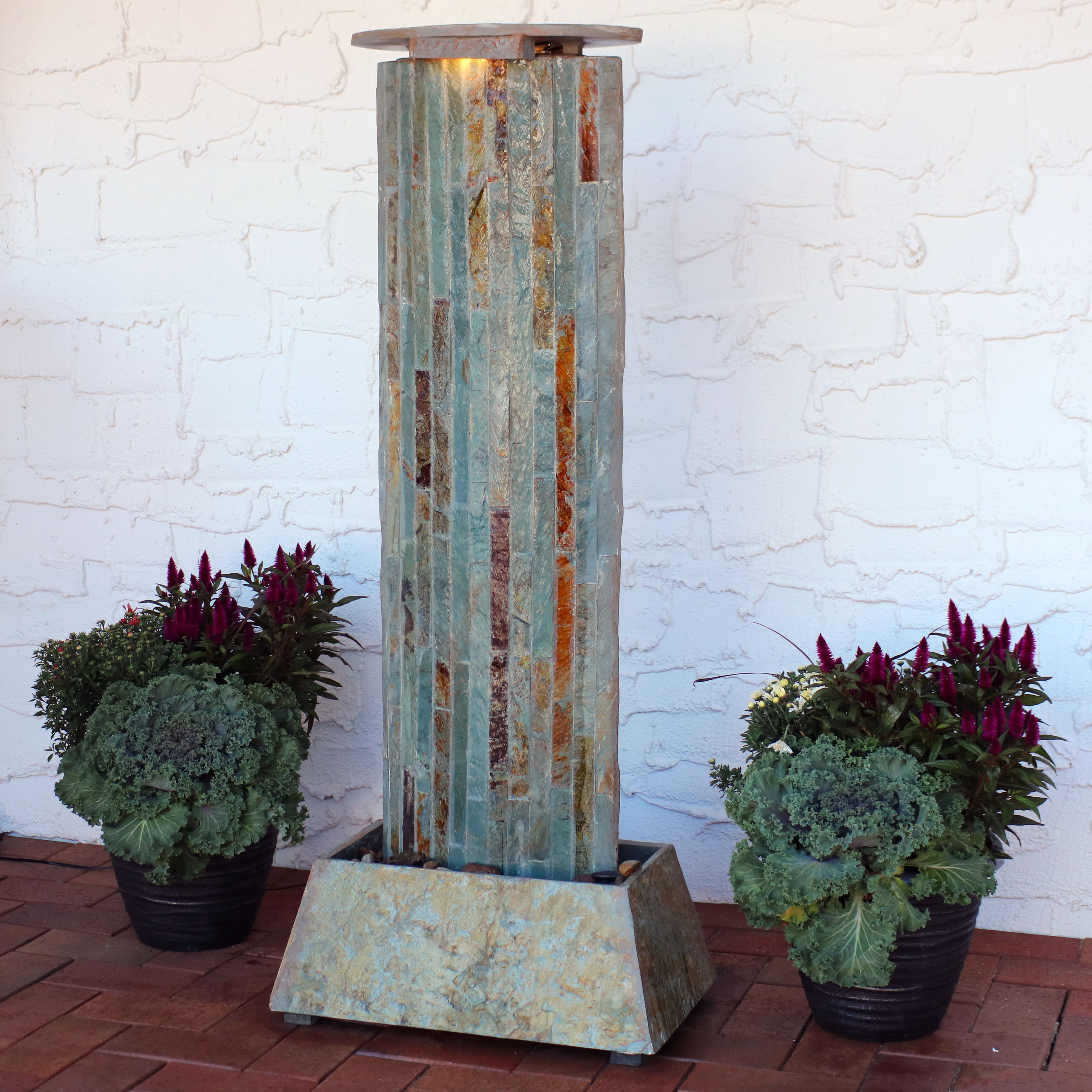 Sunnydaze Floor Water Fountain Tower, Indoor/Outdoor Use, Natural Slate, 49-Inch Tall