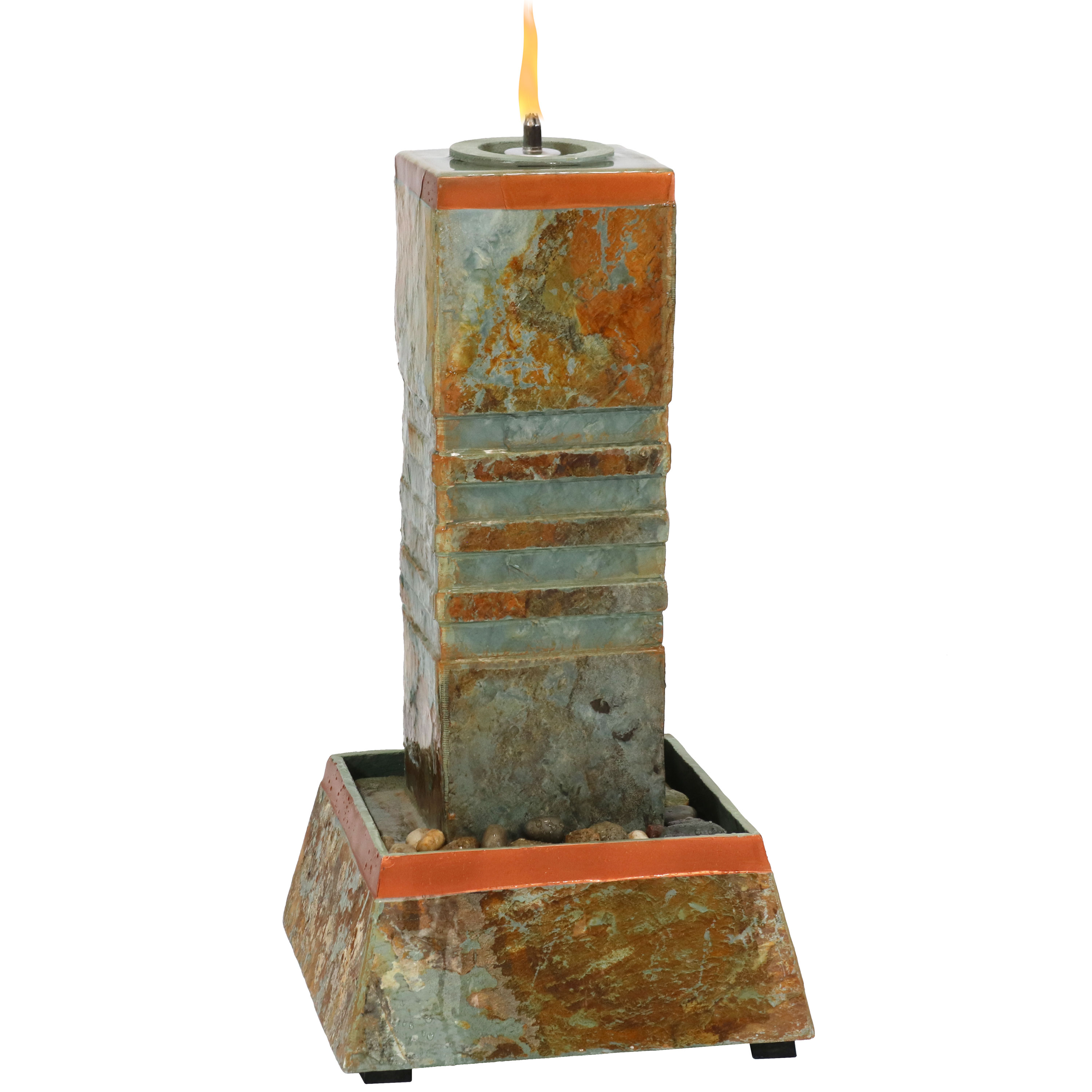 Water Fountain Cube Column Tower Torch Top Natural Slate Photo
