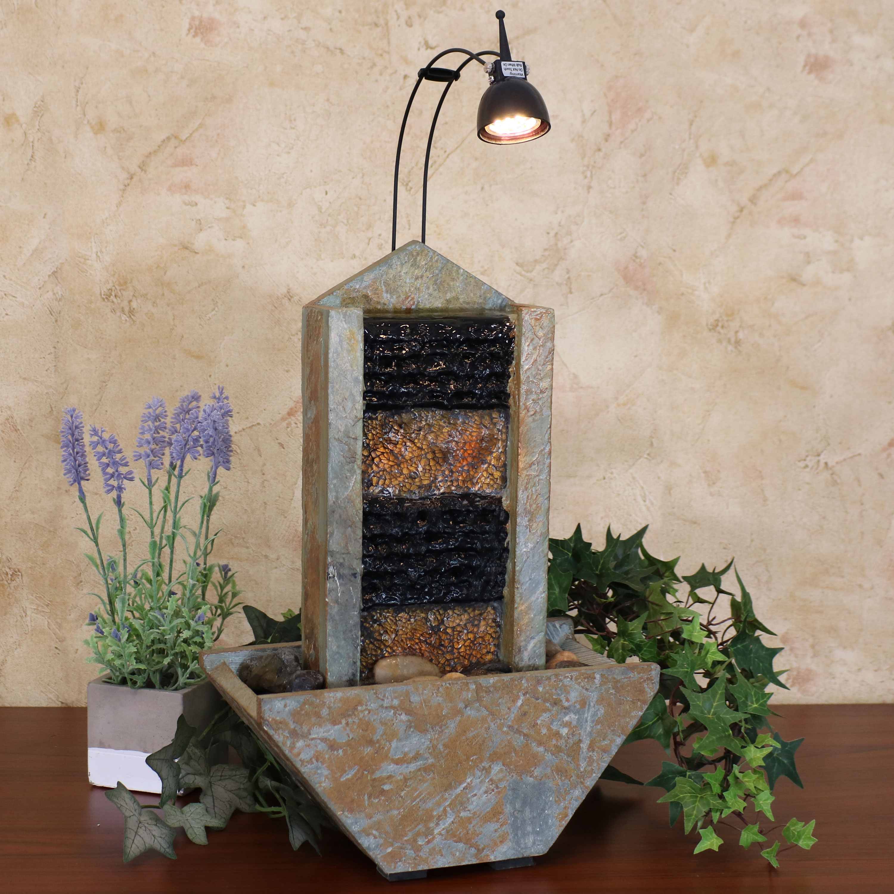 Sunnydaze Towering Tabletop Water Fountain with Spotlight, Indoor Use, Slate, 16-Inch