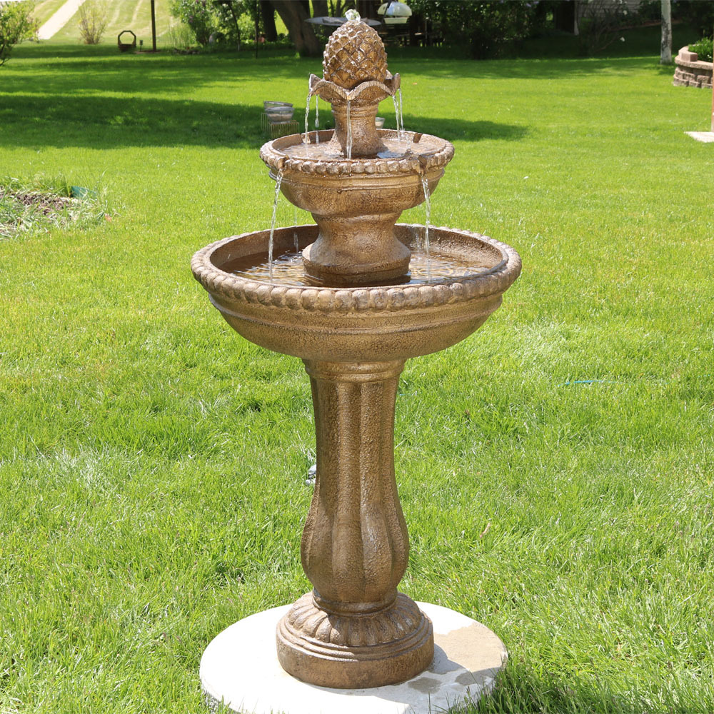 Sunnydaze Outdoor Roman Pineapple Tier Garden Water Fountain Image 327