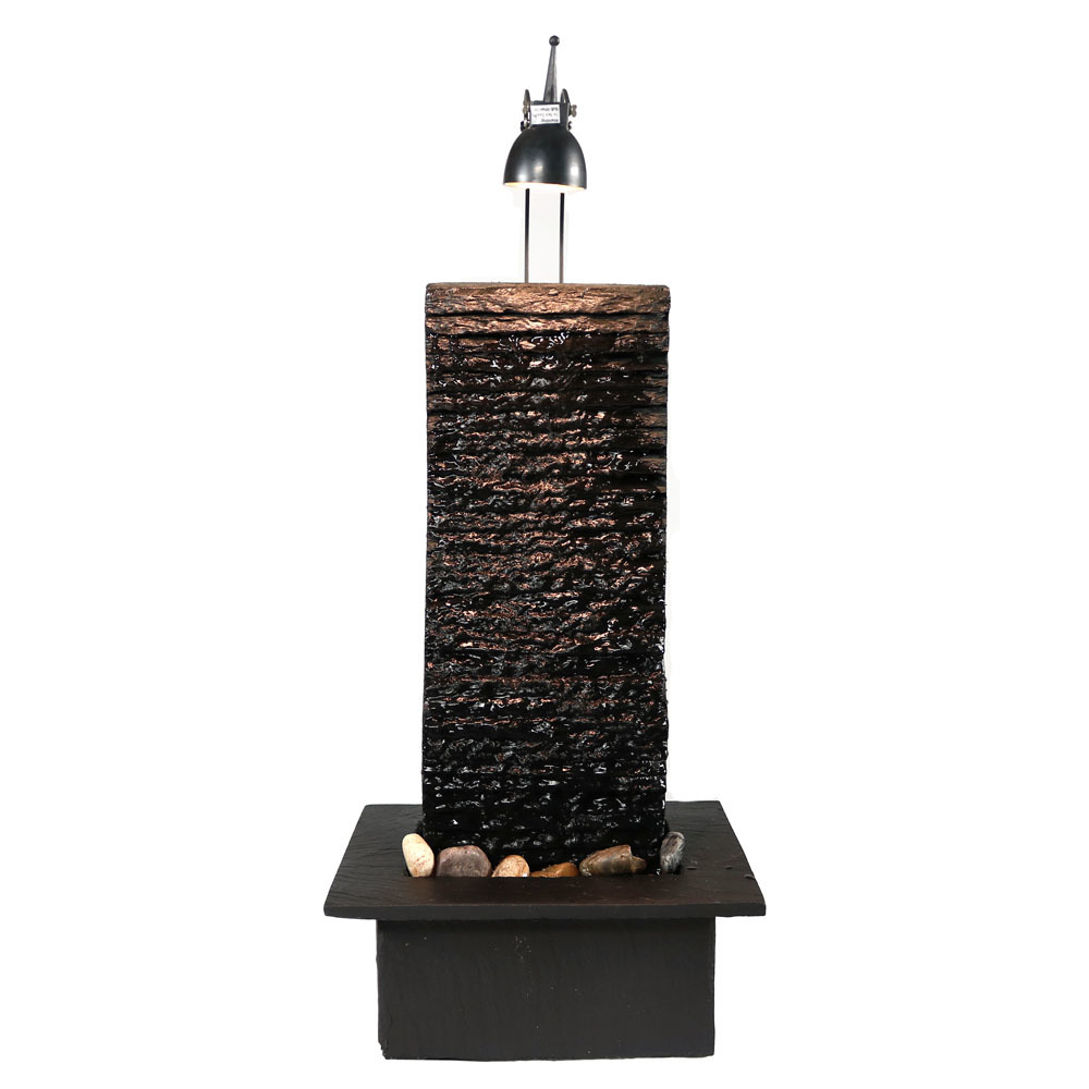 Crest Slate Tabletop Water Fountain Led Spotlight Photo