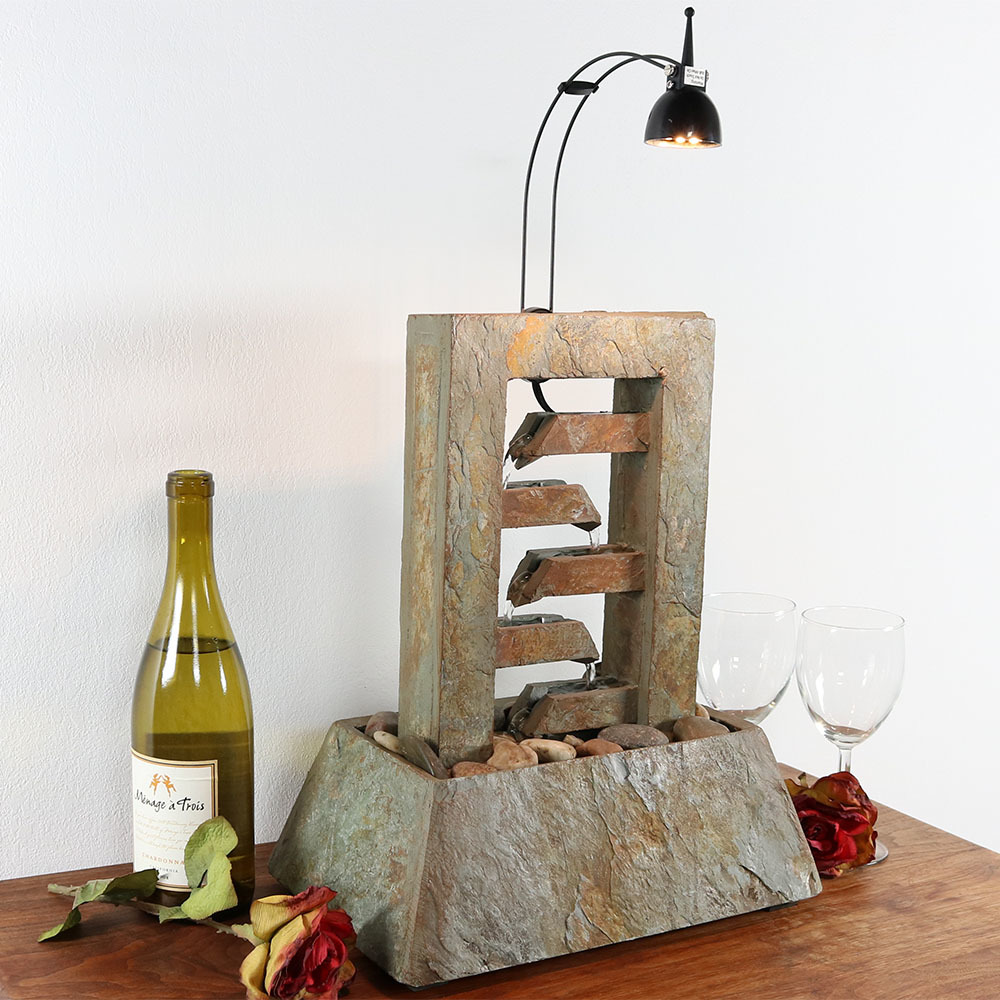 Sunnydaze Tier Slate Flowing Tabletop Water Fountain Image 338