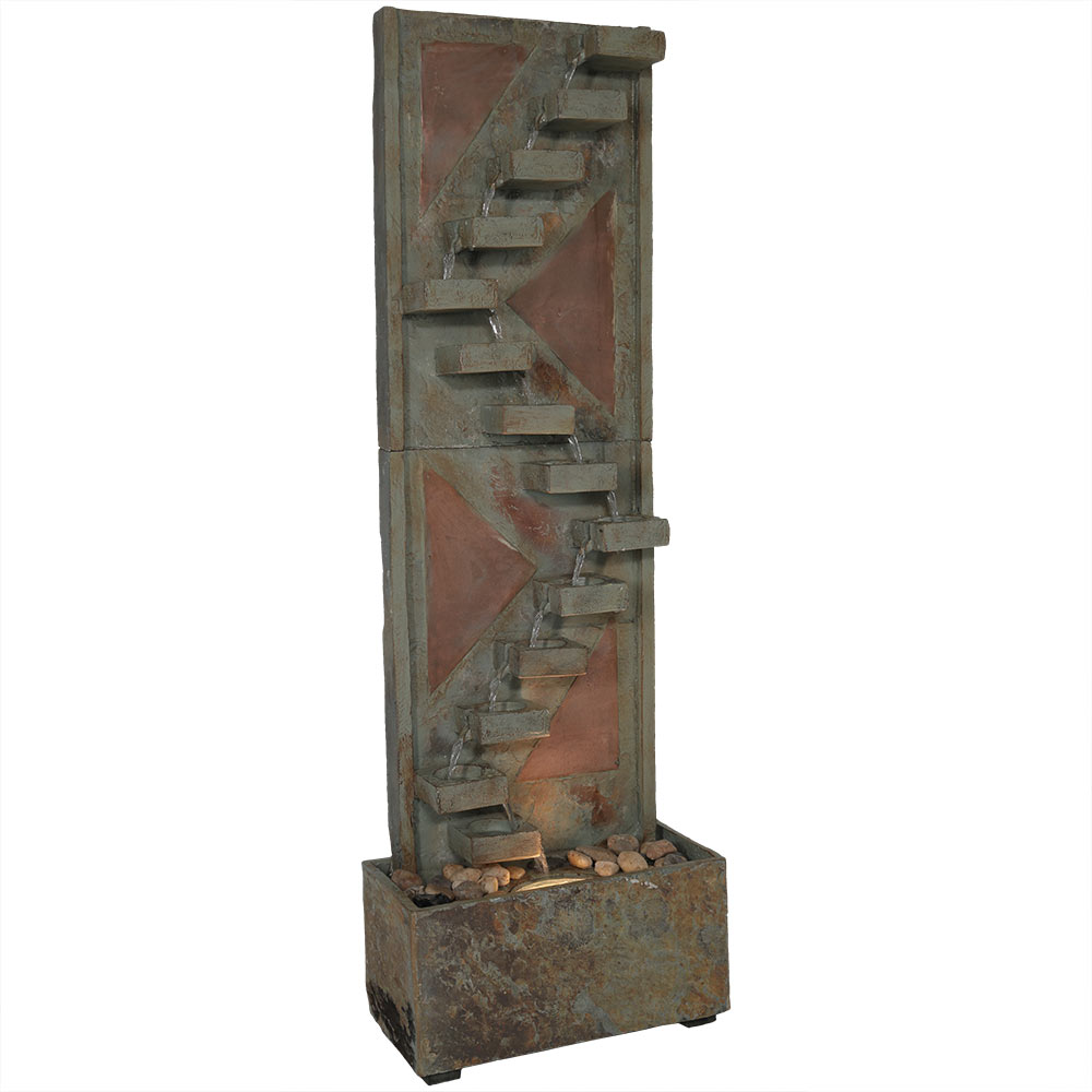 Descending Staircase Slate Water Fountain Accents Led Spotlight Tall Submersible Pump Photo