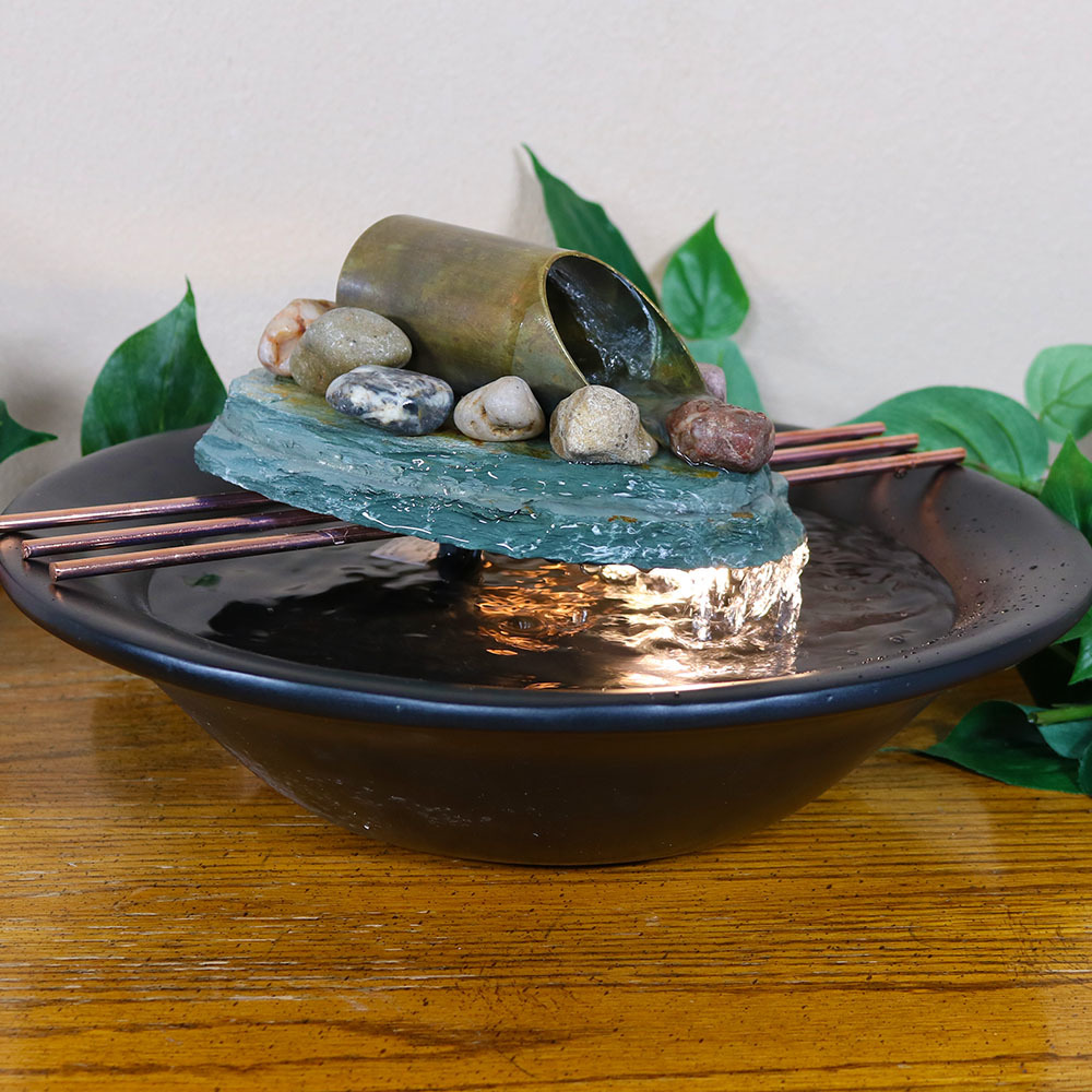Sunnydaze Soothing Balance Slate Tabletop Water Fountain Picture 702