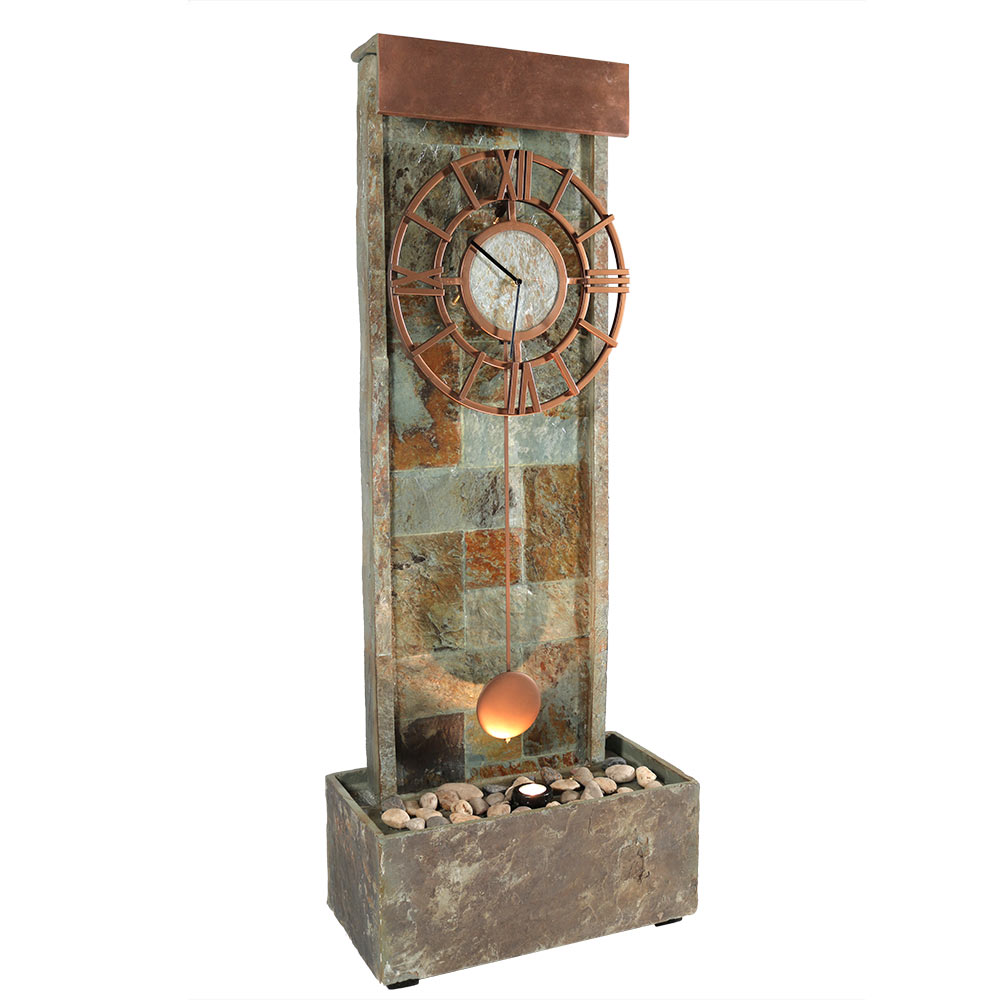Slate Water Fountain Clock Halogen Light Tall Photo