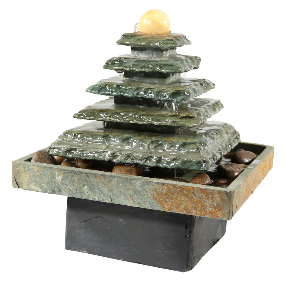 Tabletop Water Fountain Small Zen Waterfall Slate Pyramid Desk Photo