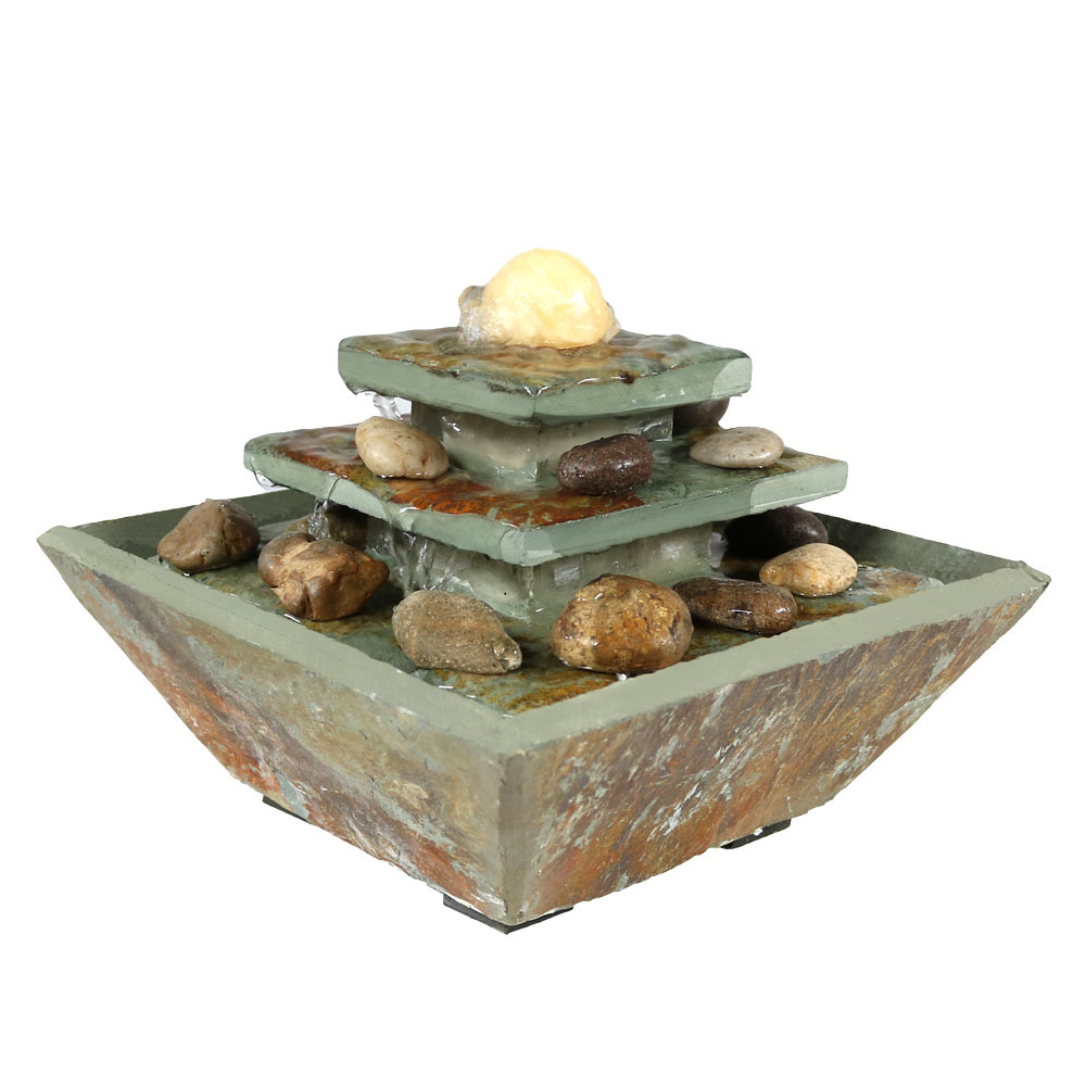 Ascending Slate Water Fountain Led Light Photo