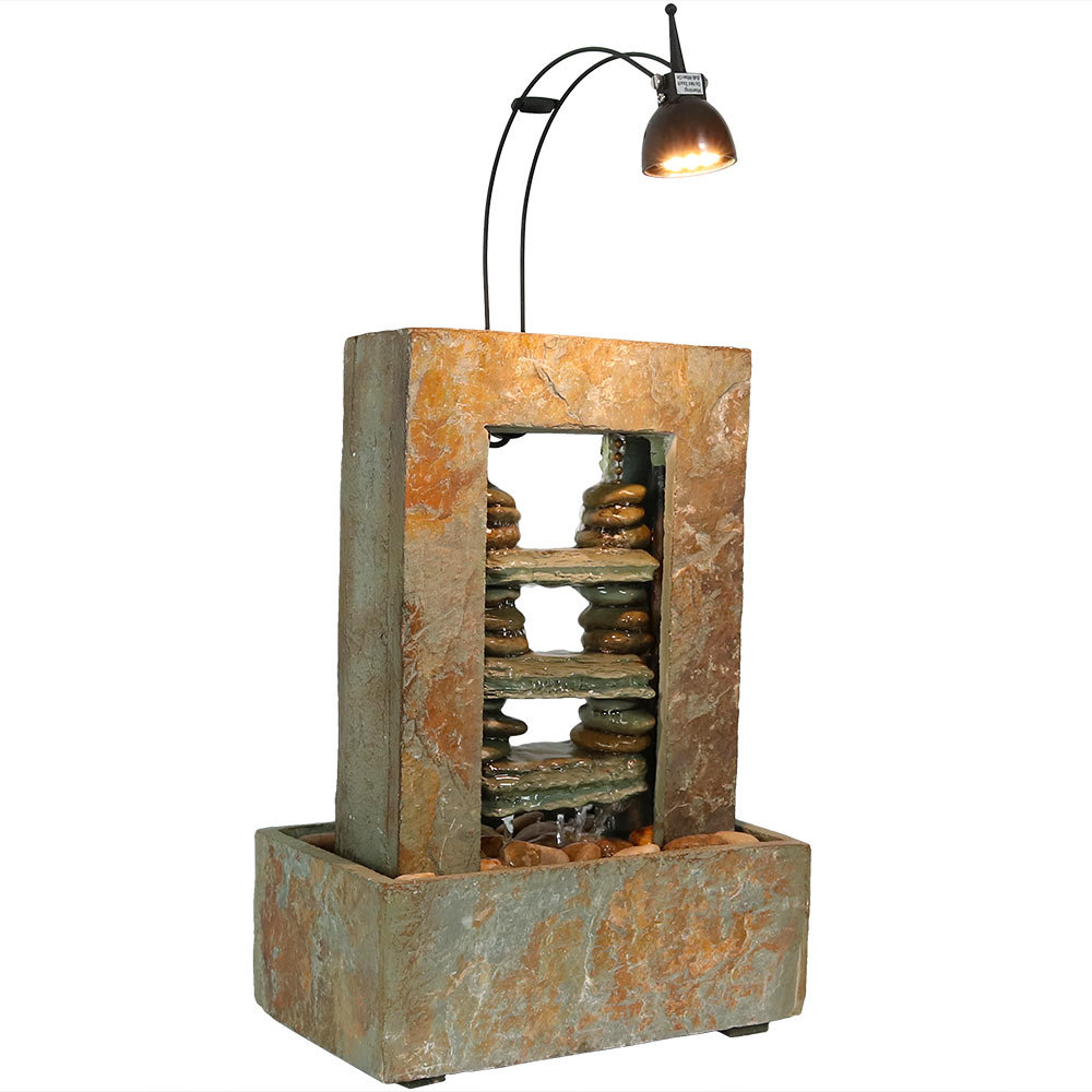 Rock Towers Slate Tabletop Water Fountain Led Light Tall Photo