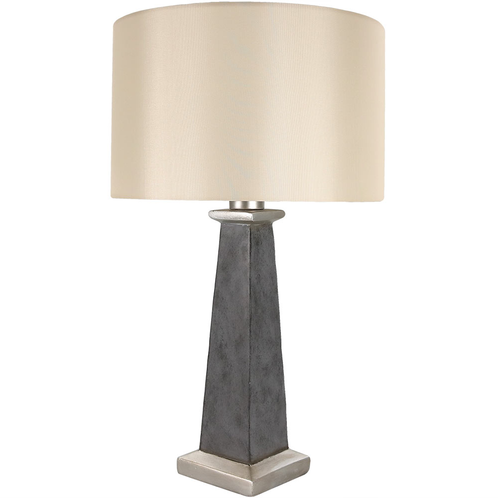 Sunnydaze Indoor/Outdoor Concrete Pillar Table Lamp, Modern Design