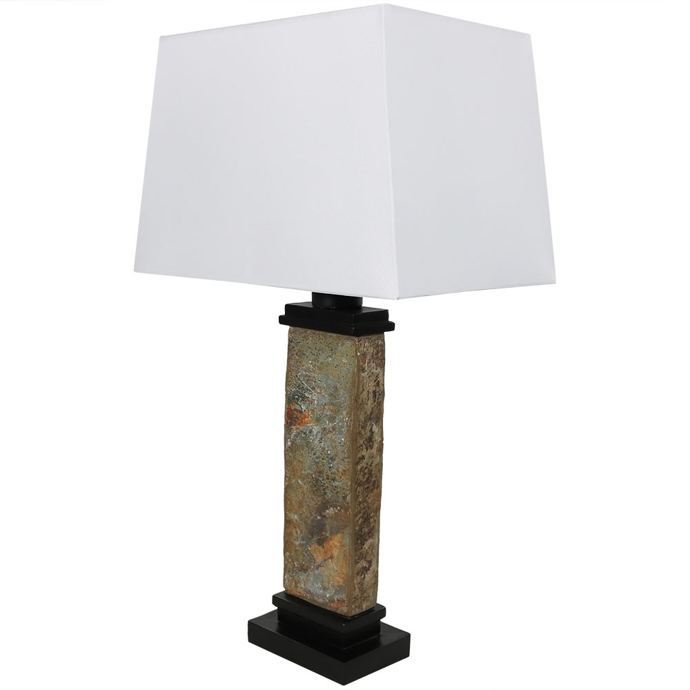 Sunnydaze Indoor/Outdoor Weather Resistant Table Lamp, Thin Natural Slate