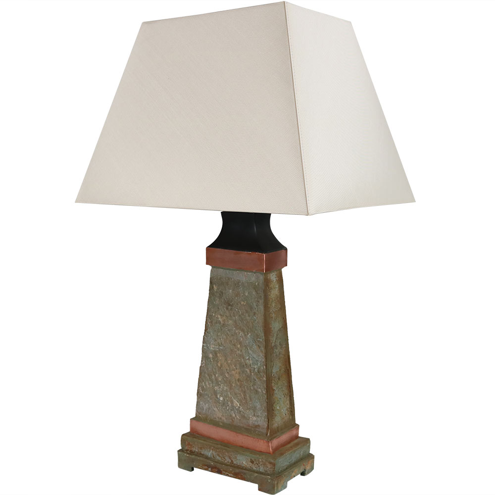 Sunnydaze Indoor/Outdoor Weather Resistant Table Lamp, Copper Trimmed Slate