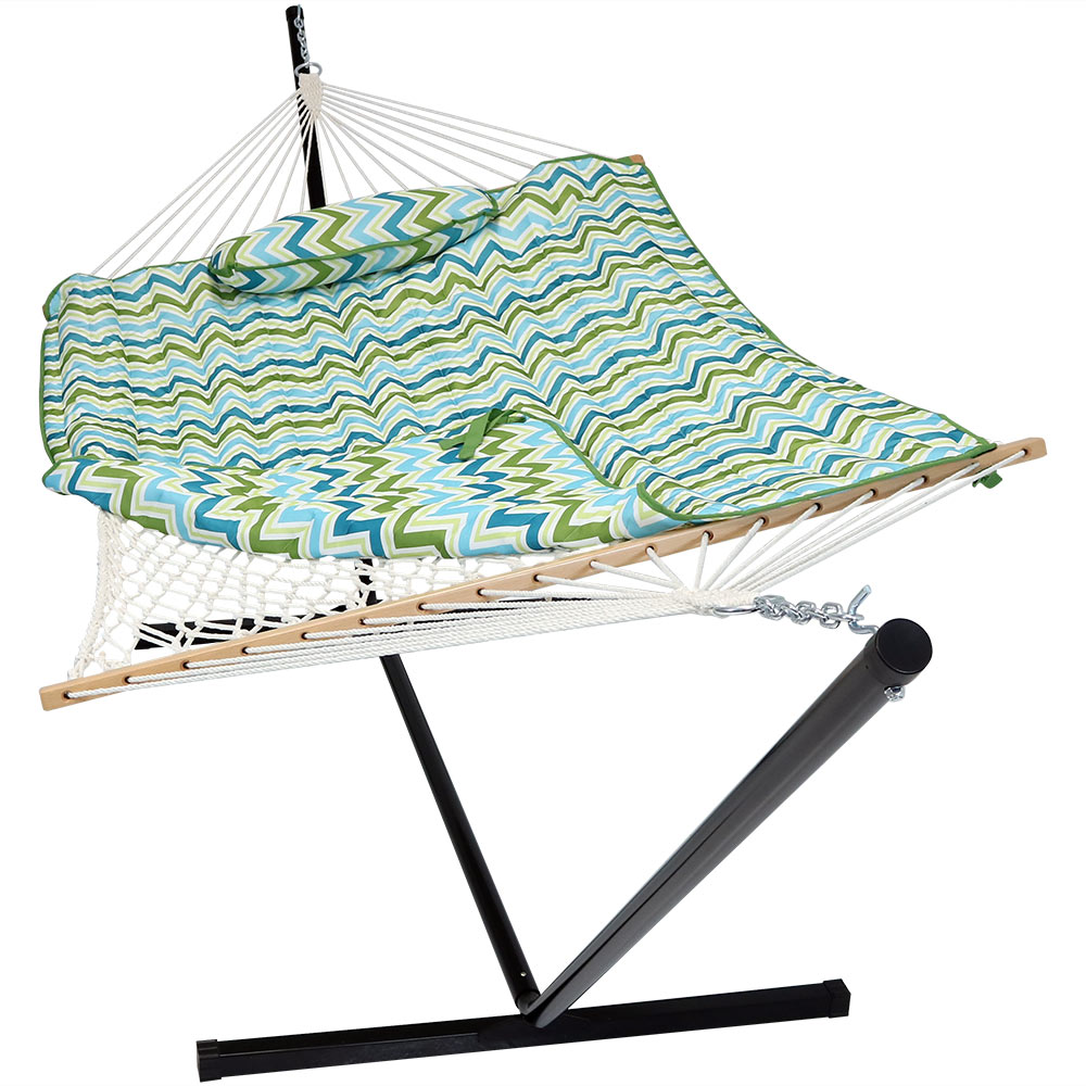 Rope Hammock Portable Stand Spreader Bar Use Pad Pillow Blue Green Chevron Photo
