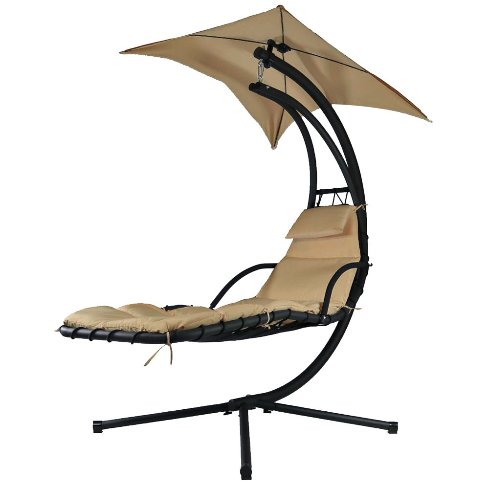 Beige Floating Chaise Lounger Swing Chair Canopy Umbrella Wide Tall Photo