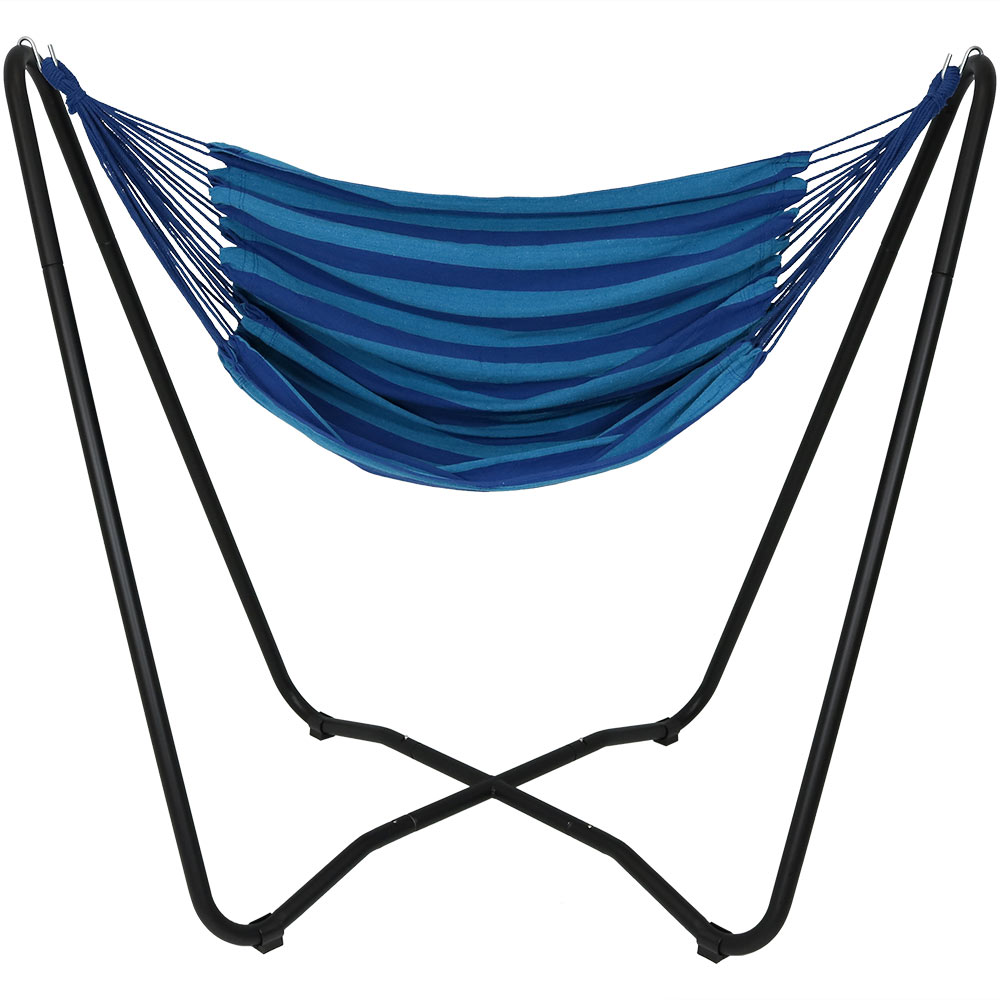 Hanging Rope Hammock Chair Swing Stand Beach Oasis Patio Yard Porch Bedroom Photo