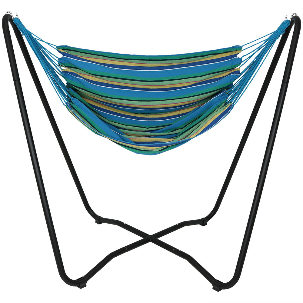 Hanging Rope Hammock Chair Swing Stand Ocean Breeze Patio Yard Porch Bedroom Photo