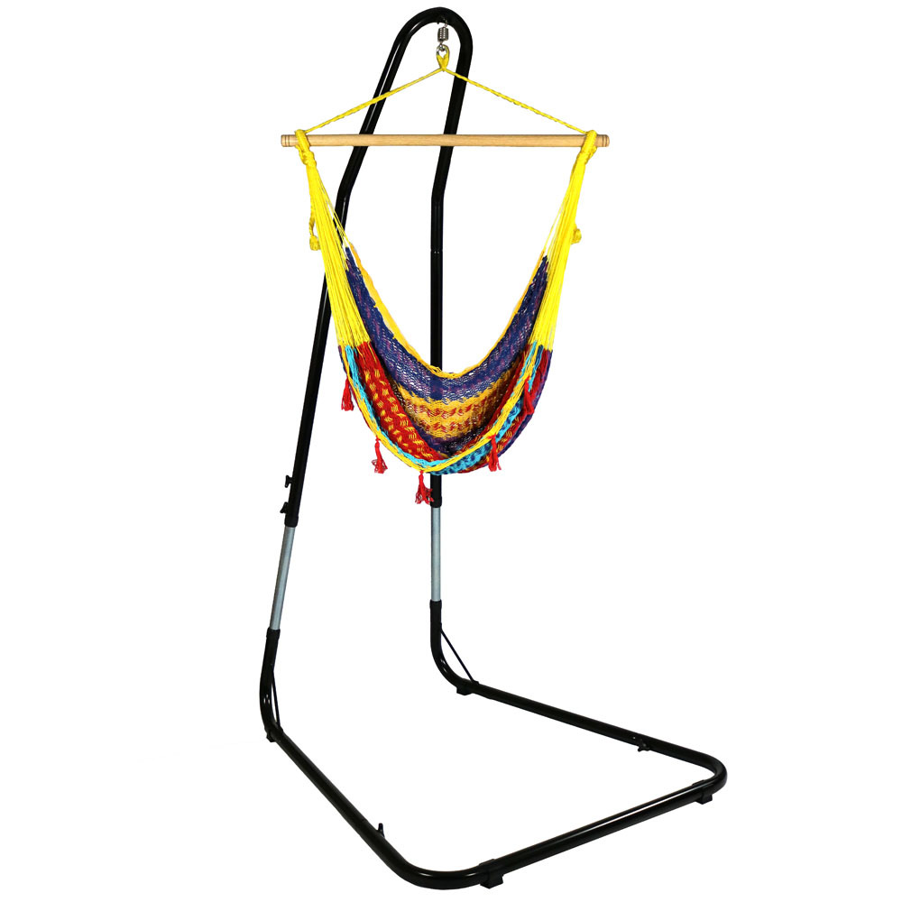 Hammock Chair Stand Comfortable Hanging Swing Seat Nylon Rope Lightweight Wood Bar Use Col Photo
