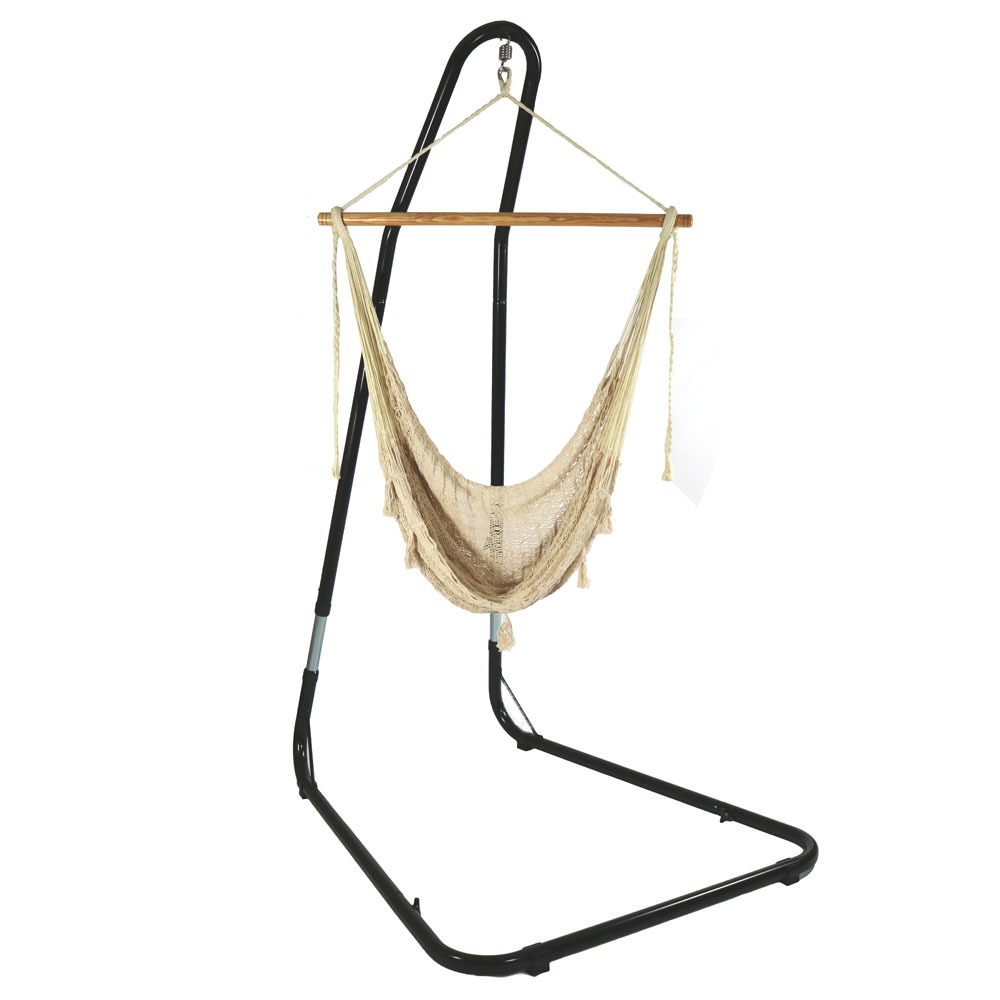 Hammock Chair Stand Comfortable Hanging Swing Seat Nylon Rope Lightweight Wood Bar Use Nat Photo
