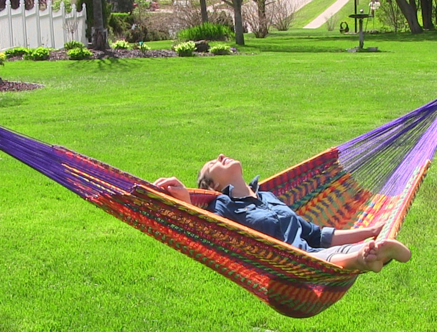 Sunnydaze Hand Woven Xxl Thick Cord Mayan Family Hammock Multi Color Pound Capacity Picture 743