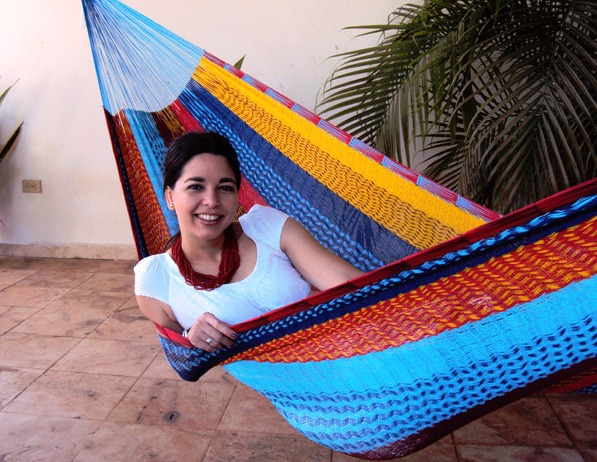 Sunnydaze Portable Hand Woven Person Mayan Hammock Single Size Multi Color Pound Capacity Picture 956
