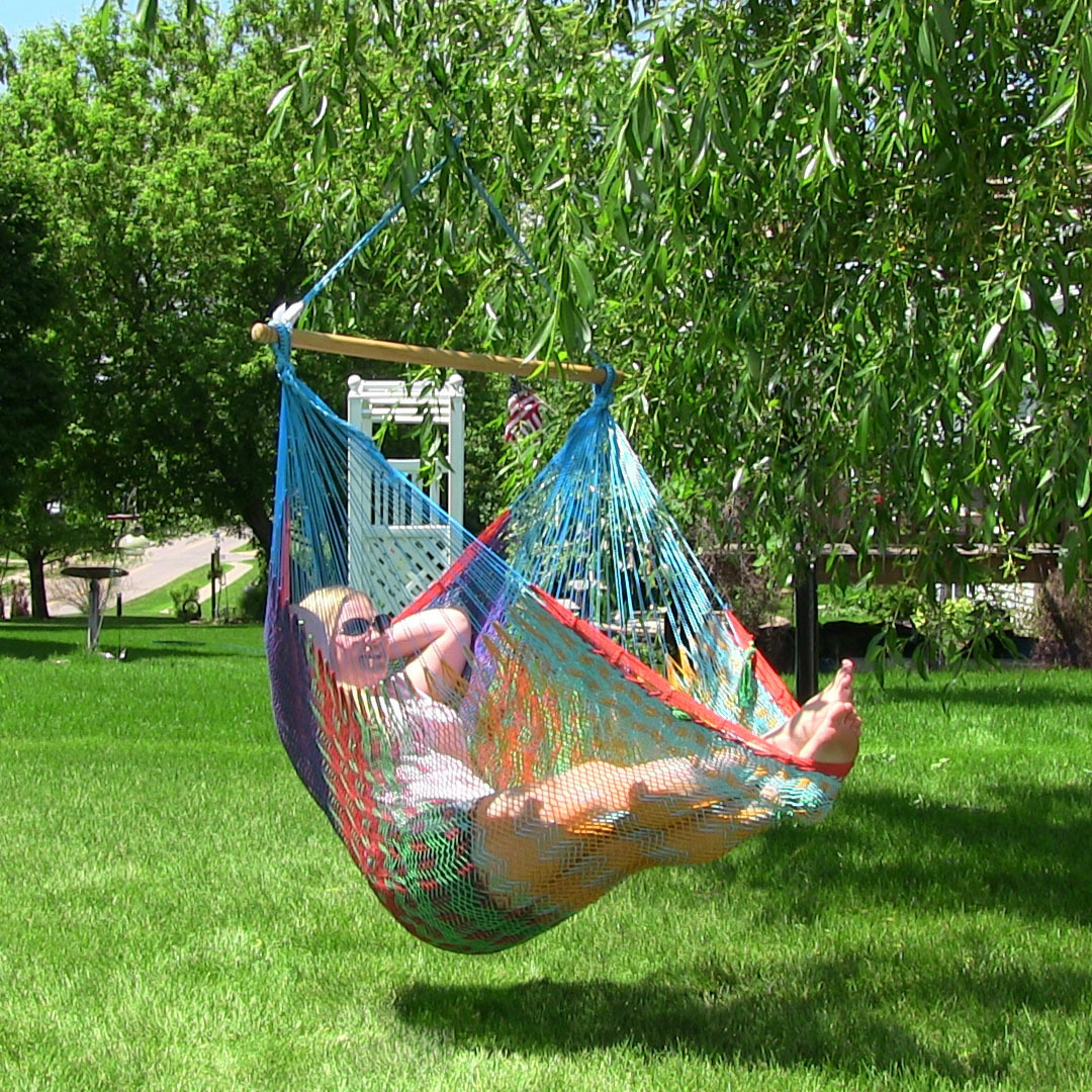 Sunnydaze Extra Large Mayan Hammock Chair Comfortable Hanging Swing Seat Cotton Nylon Rope Picture 834