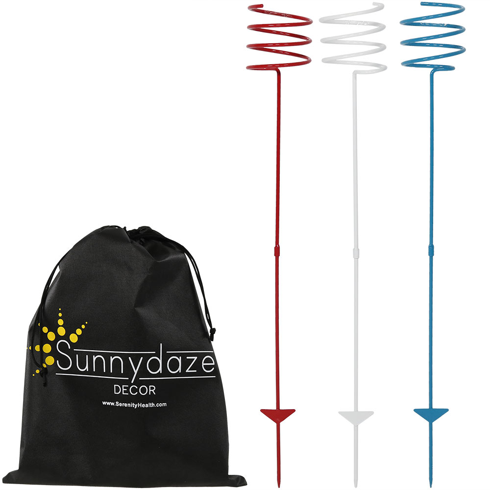 Sunnydaze Heavy-Duty Patriotic Outdoor Drink Holder, Set of 3, Red, White, and Blue
