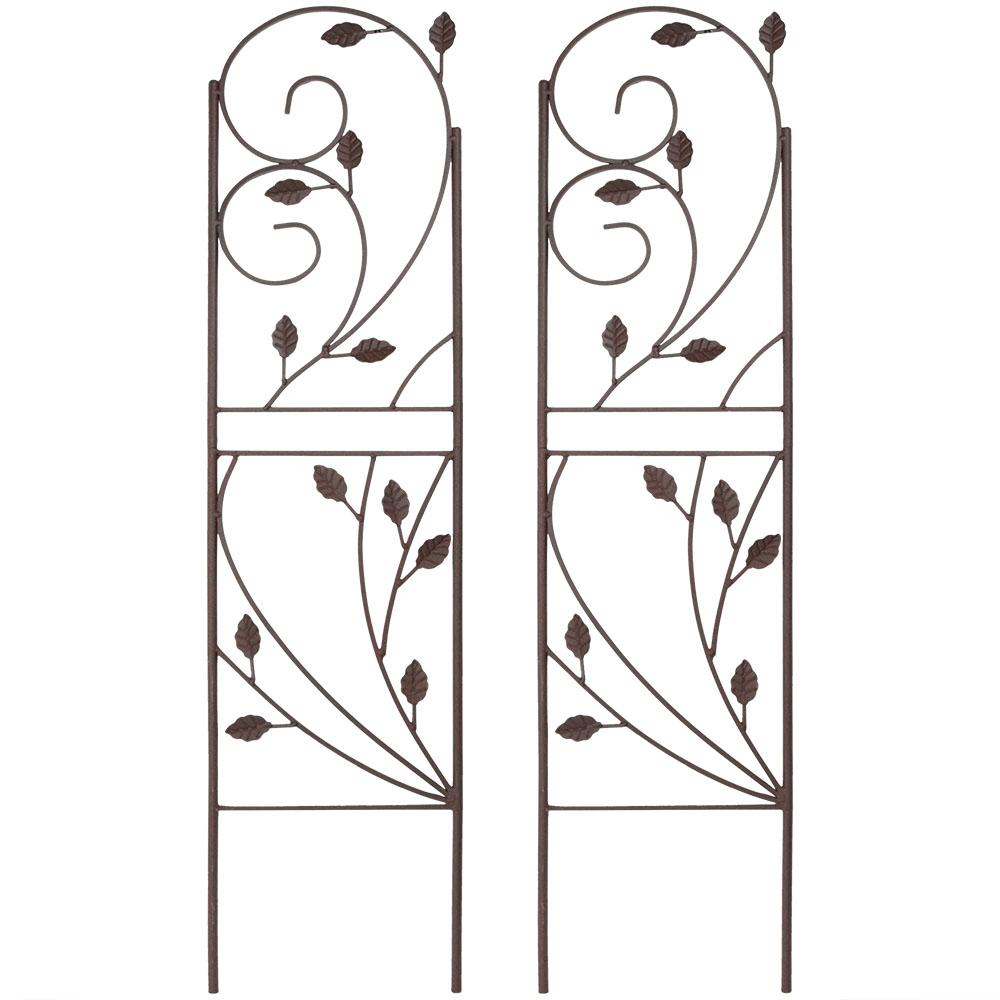 Sunnydaze 32 Inch Rustic Plant Design Garden Trellis - Metal Wire for Outdoor Climbing Flowers and Vines - Brown - Set of 2