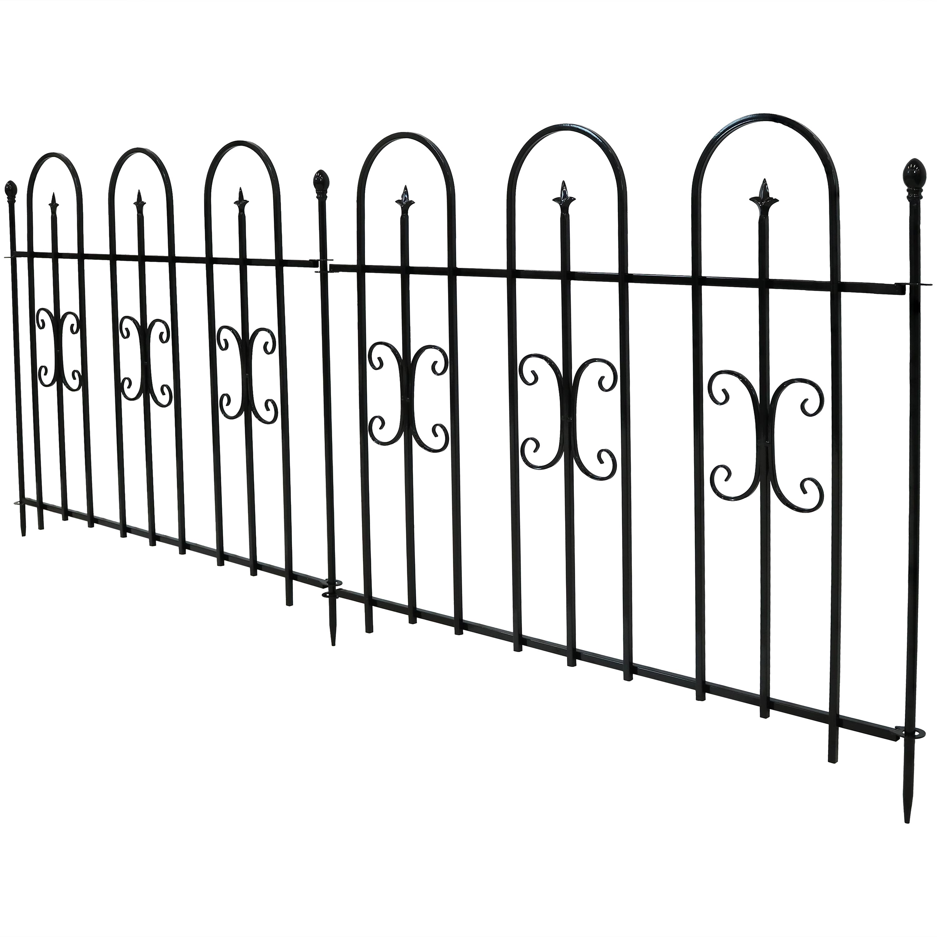 Decorative Finial Garden Landscape Metal Border Fence Black Per Panel Feet Overall Photo