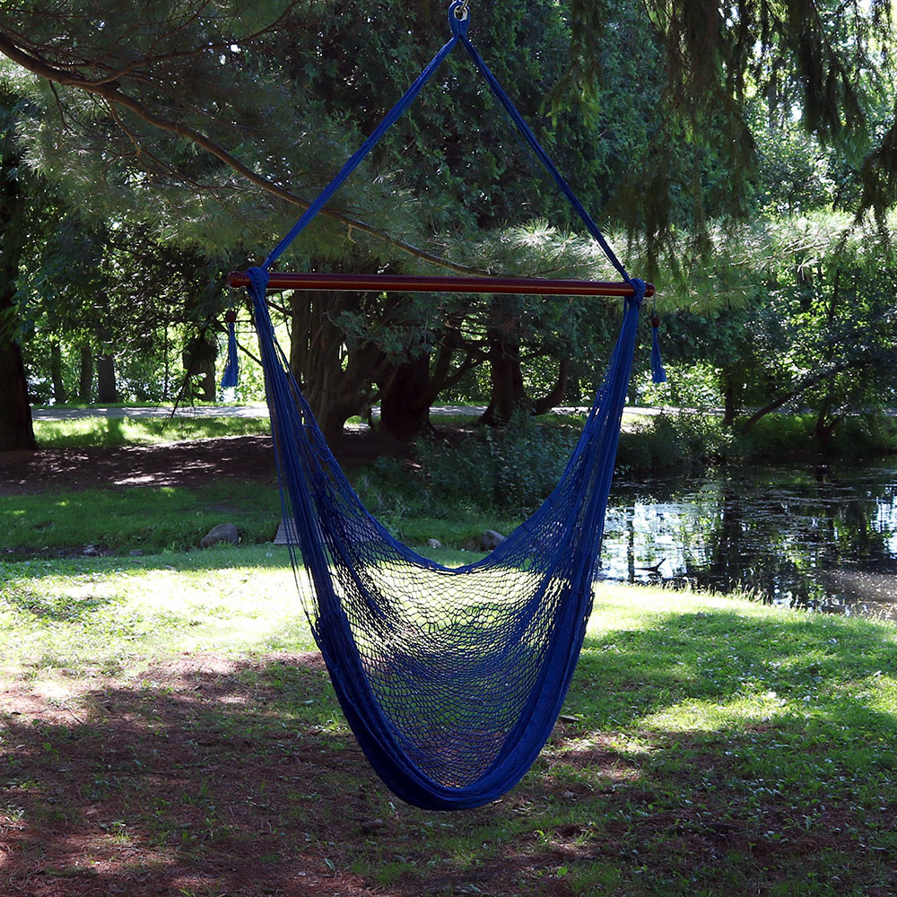 wide polyester spun caribbean xl seat inch extra soft lychcrdfr large chair hammock sunnydaze rope hanging