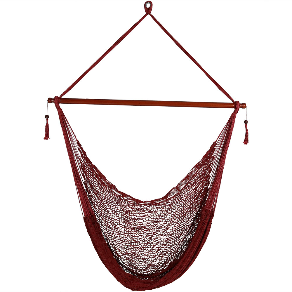 Sunnydaze Hanging Cabo Extra Large Hammock Chair, 47 Inch Wide Spreader Bar, Max Weight: 360 Pounds, Red