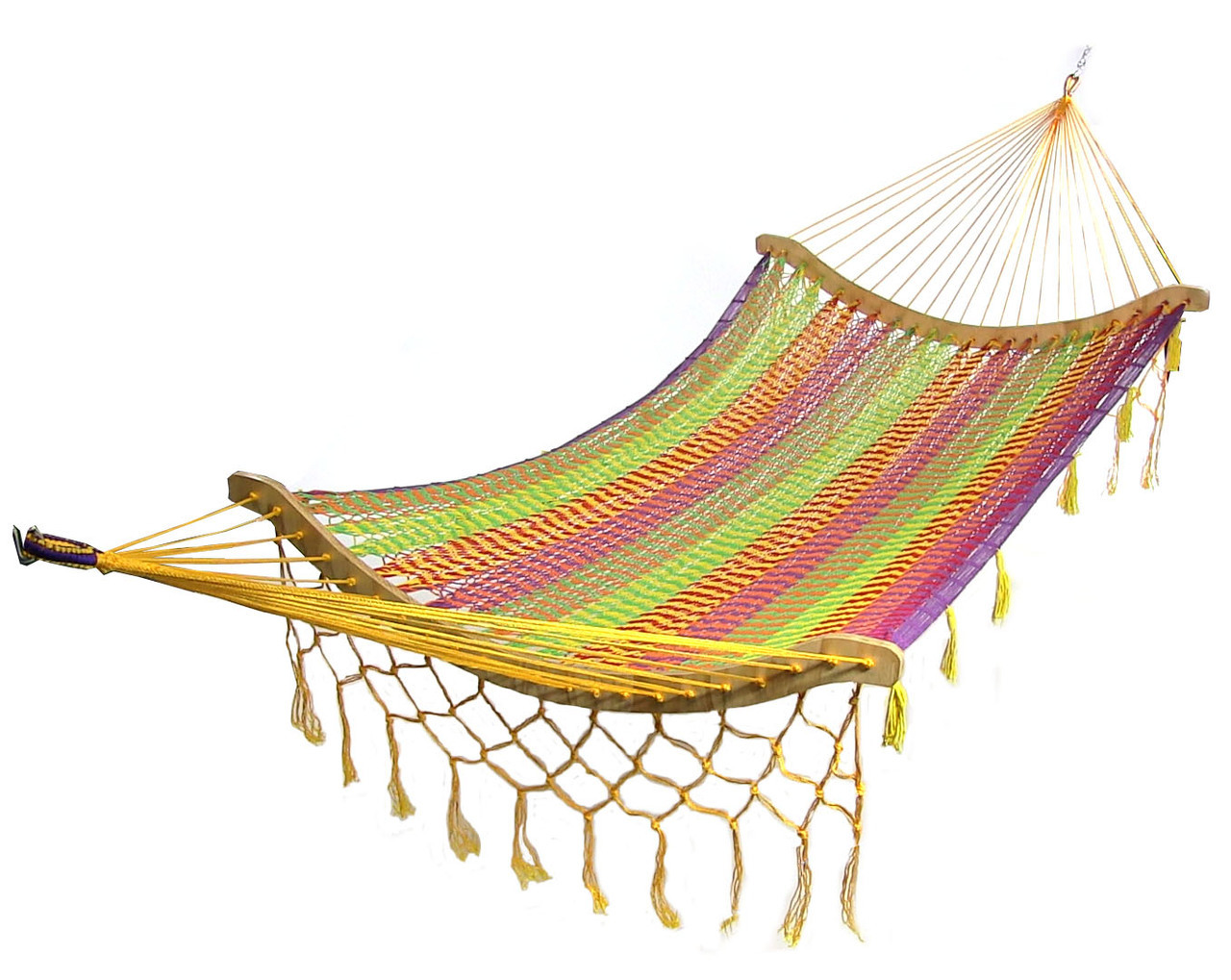 Thick Cord Mayan Hammock w Curved Spreader Bars Choose with or without Stand
