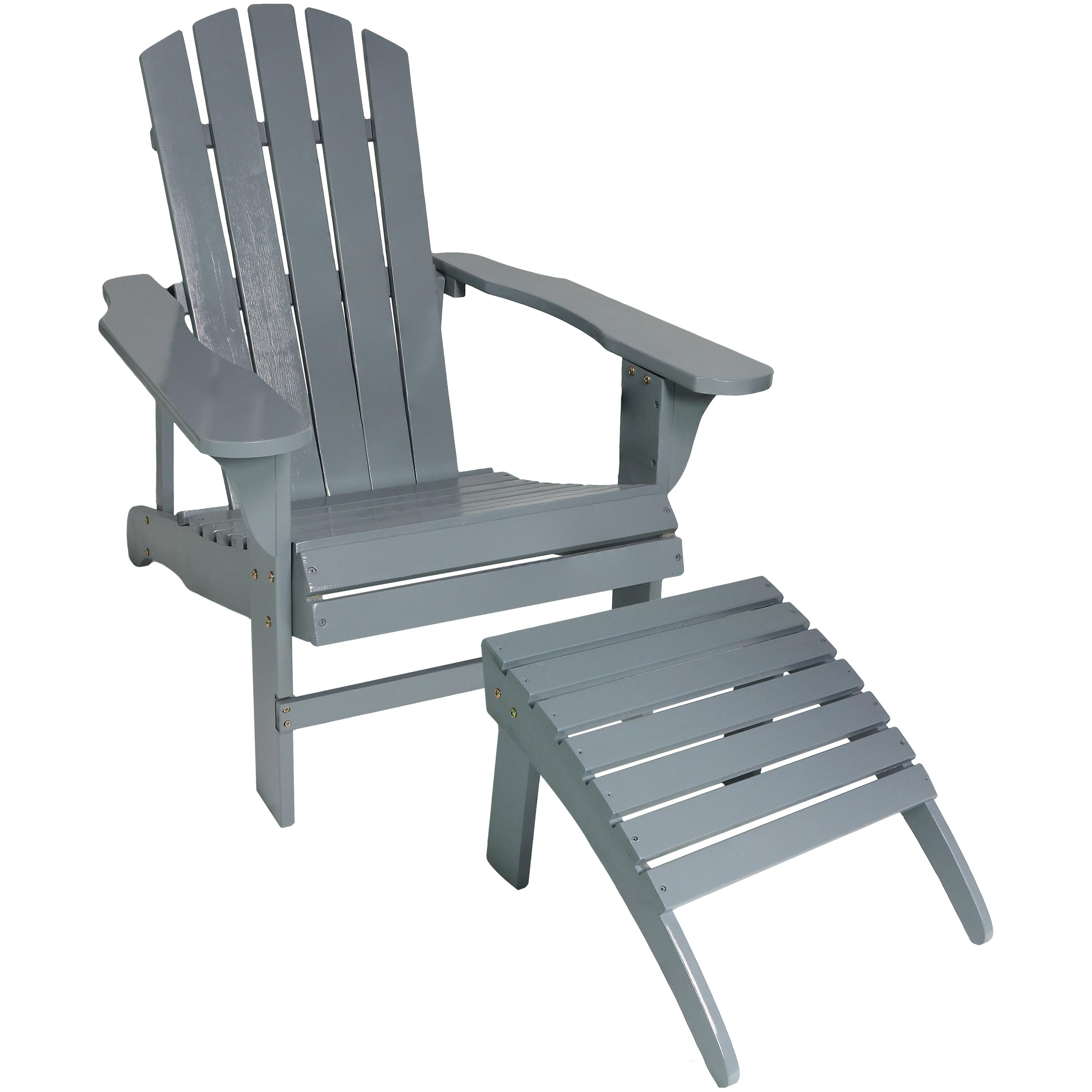 Phenomenal Details About Sunnydaze Classic Wooden Adirondack Chair With Ottoman Gray Gamerscity Chair Design For Home Gamerscityorg