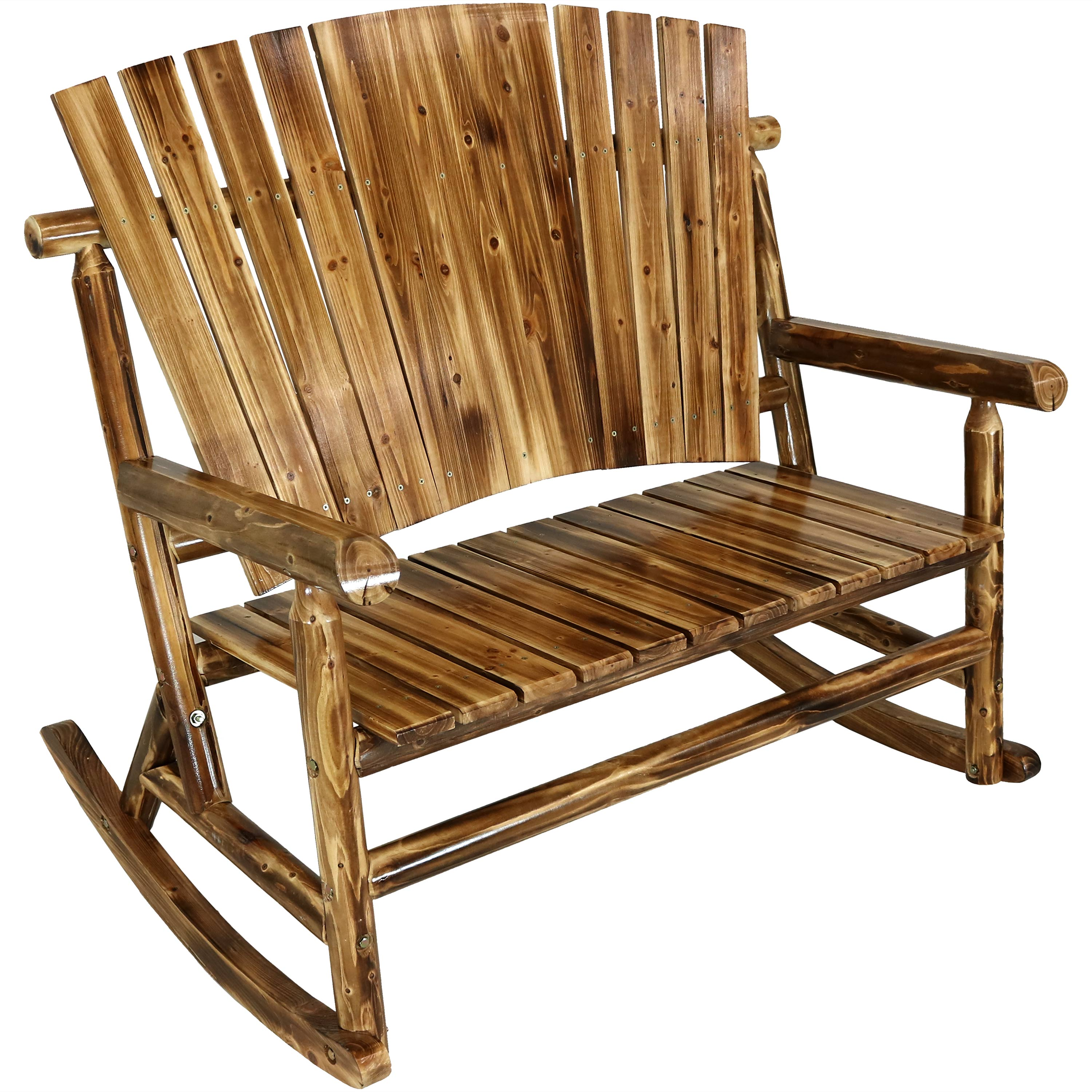 Fir Wood Log Cabin Rocking Loveseat Fan Back Pound Photo