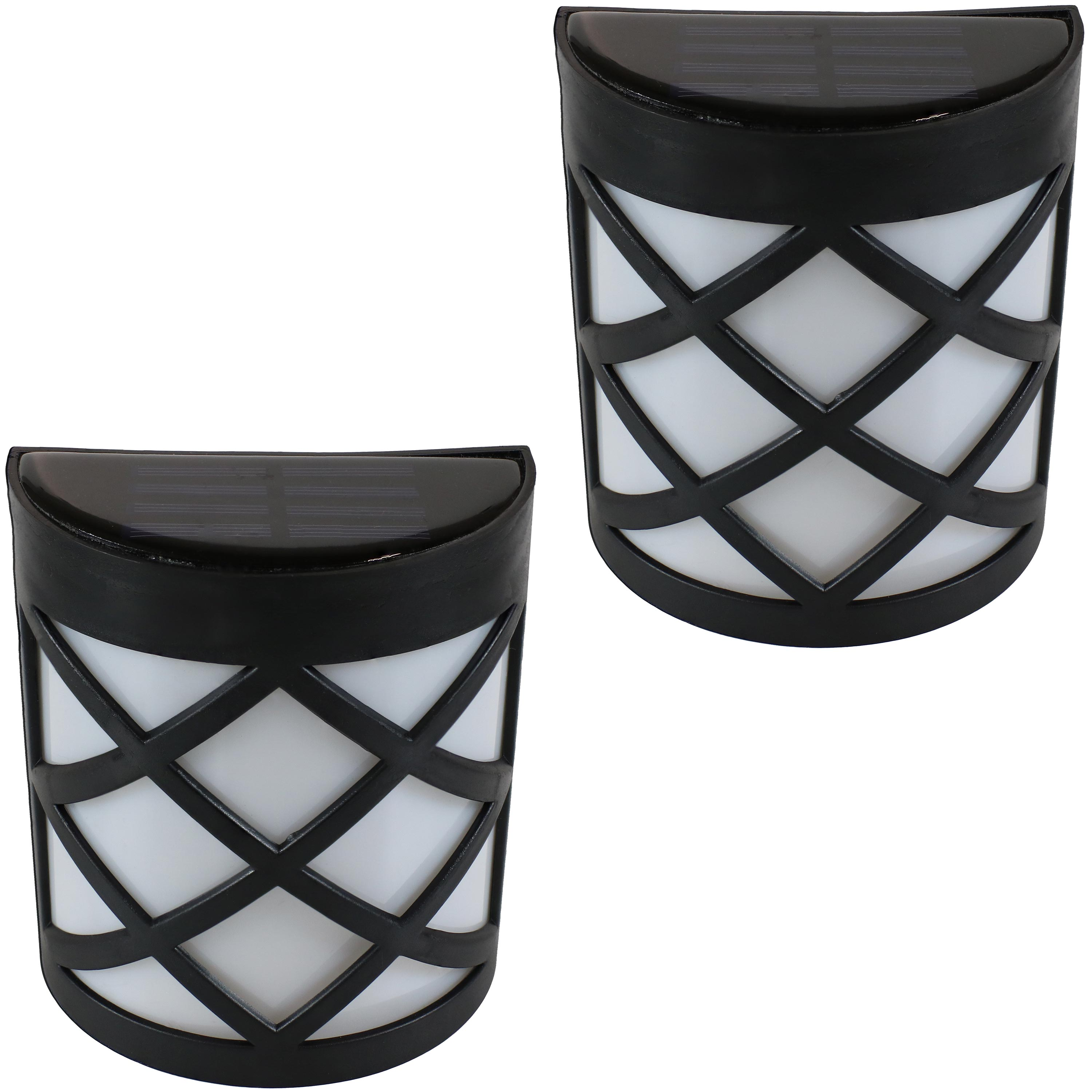 Sunnydaze Outdoor Solar LED Wall Mount Lights, Crosshatch Design, Set of 2