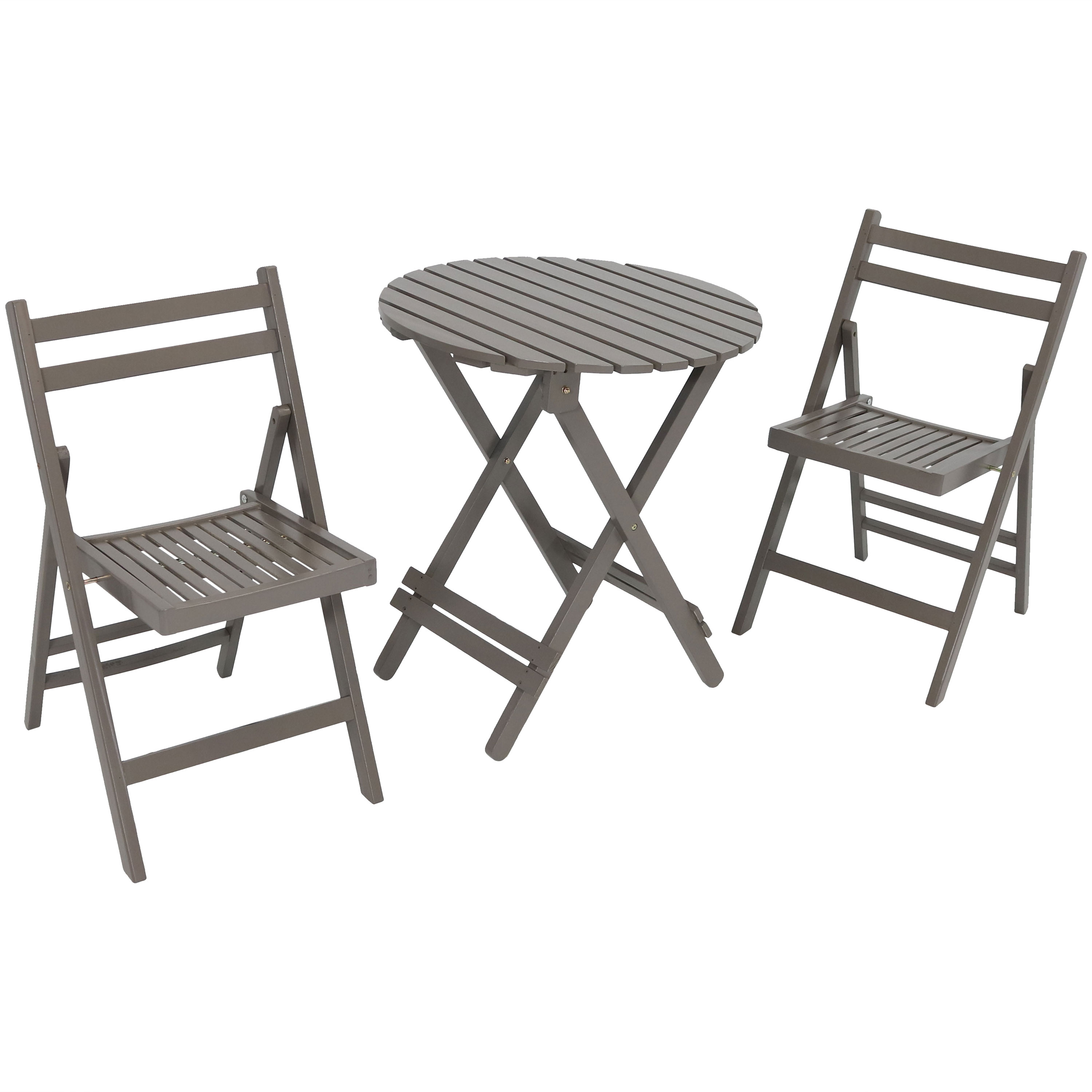 Bistro Set Folding Wood Patio Round Table Chairs Gray Photo