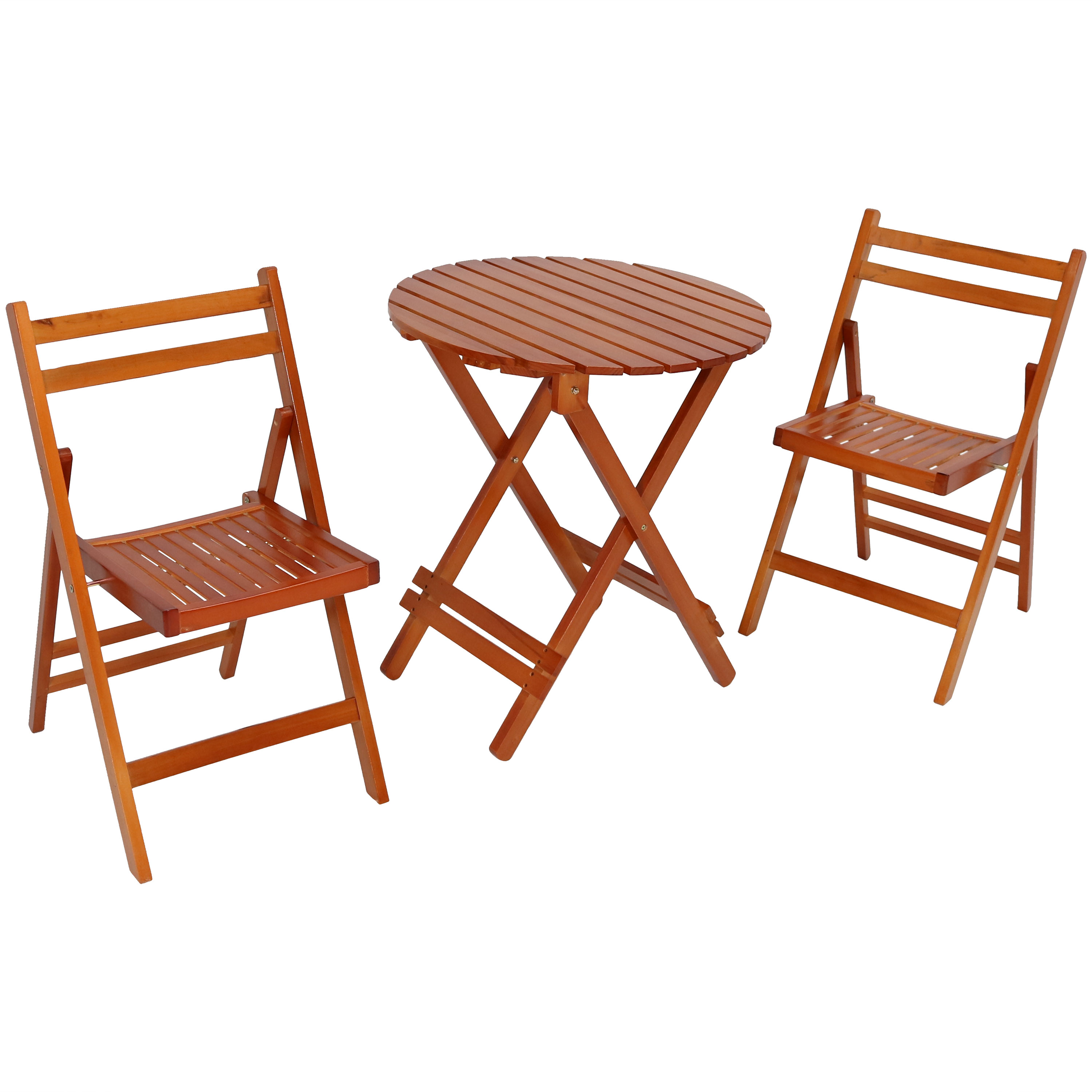 Bistro Set Folding Wood Patio Round Table Chairs Brown Photo