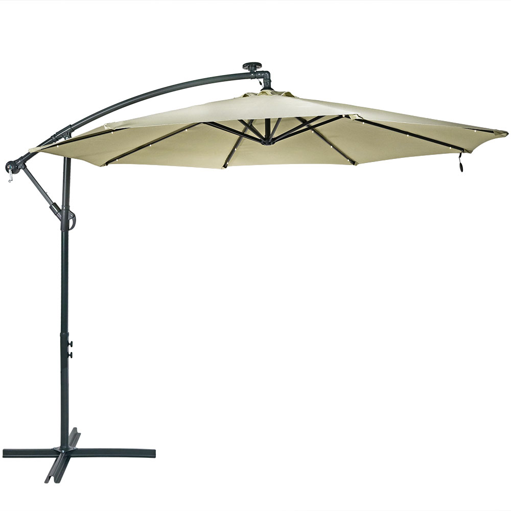 Sunnydaze Steel 10 Foot Offset Solar Led Patio Umbrella