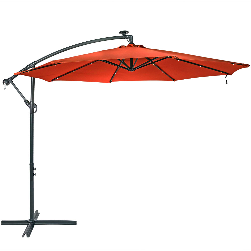 Solar Patio Umbrella Led Lights Crank Cross Base Burnt Orange Photo